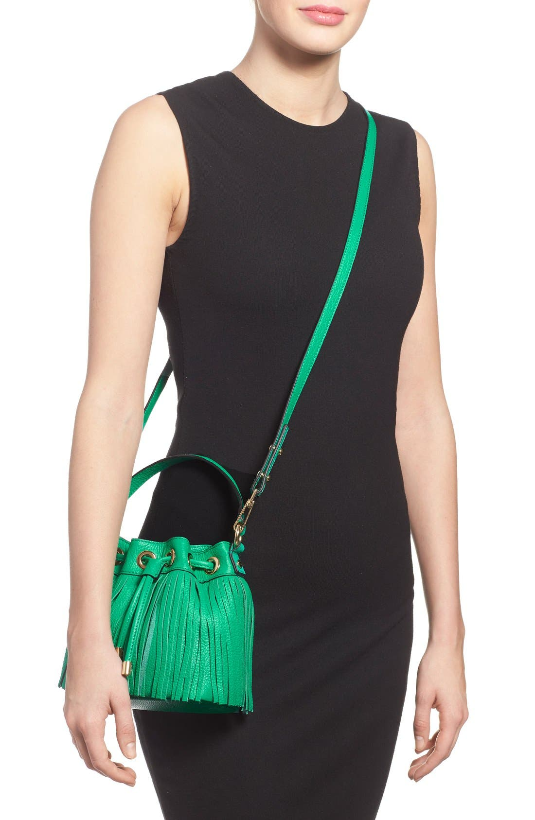 Fringed Leather Bucket Bag,                             Alternate thumbnail 2, color,                             Jade
