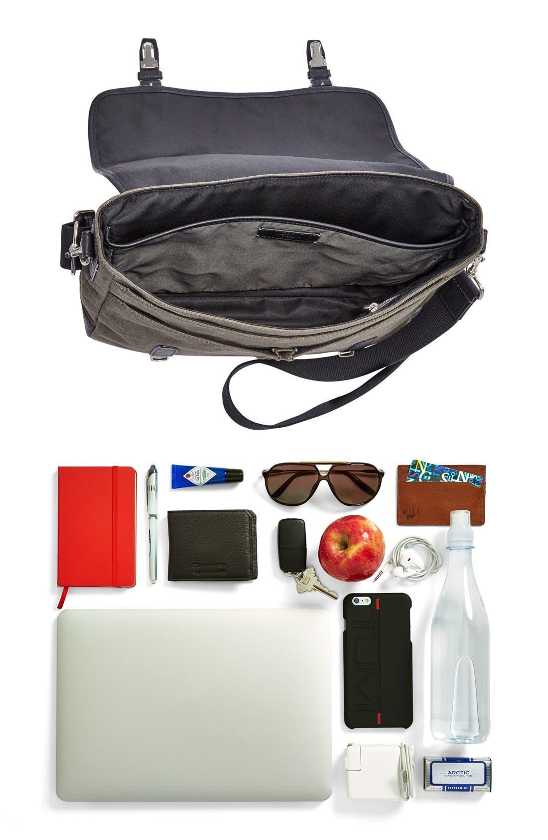 'Graham' Canvas Messenger Bag,                             Alternate thumbnail 4, color,                             Olive