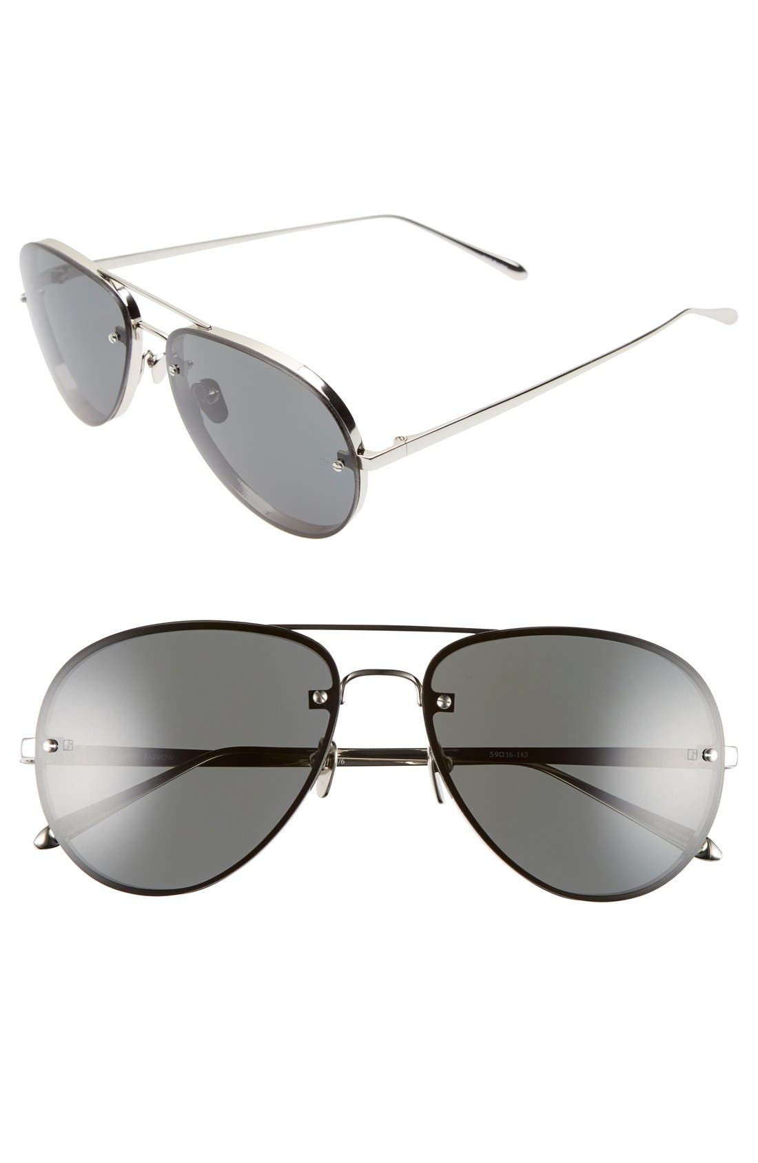 LINDA FARROW 59mm Aviator 18 Karat White Gold Trim Sunglasses