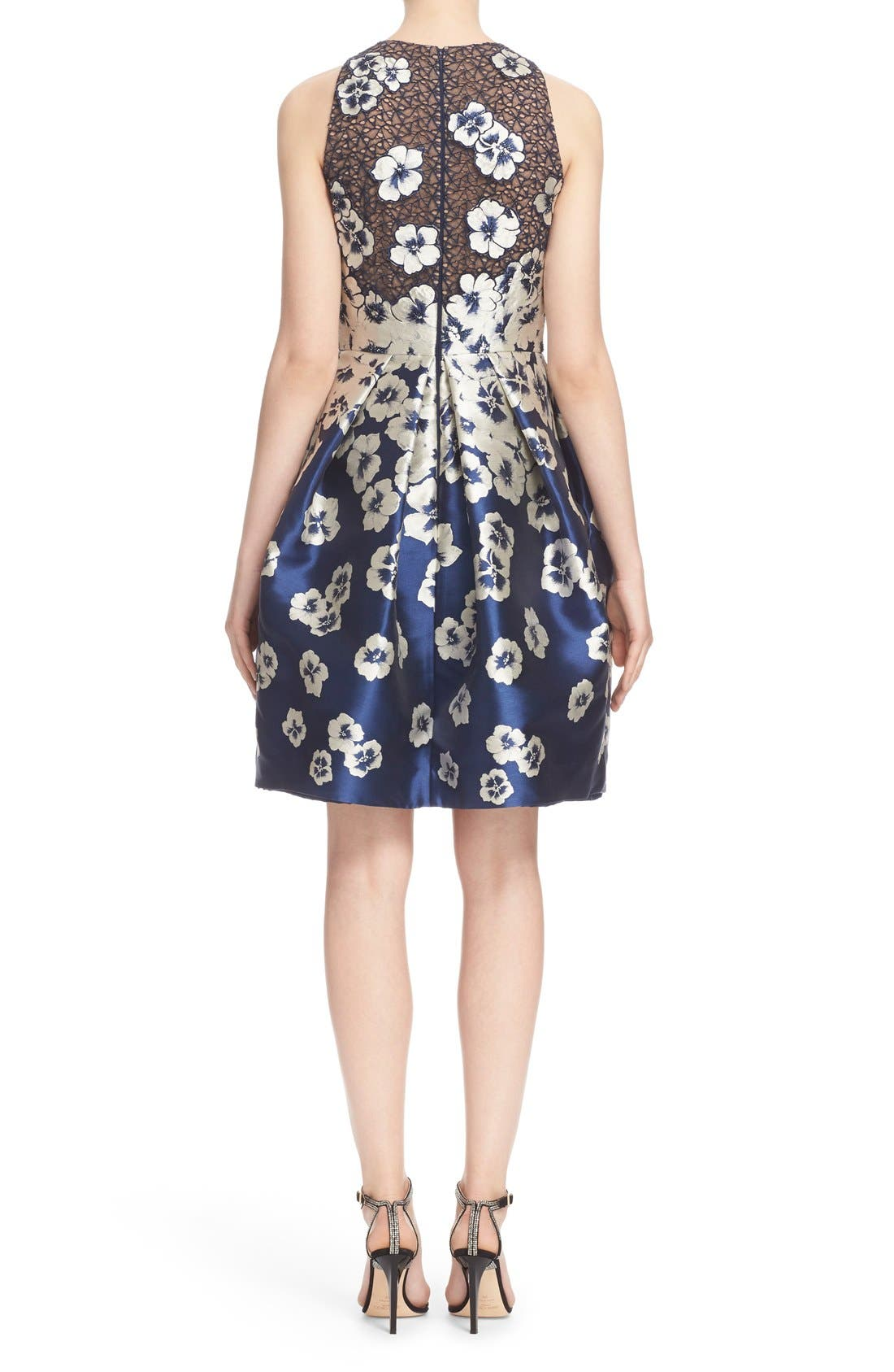 Alternate Image 2  - Carmen Marc Valvo Couture Floral Appliqué Cutaway Cocktail Dress