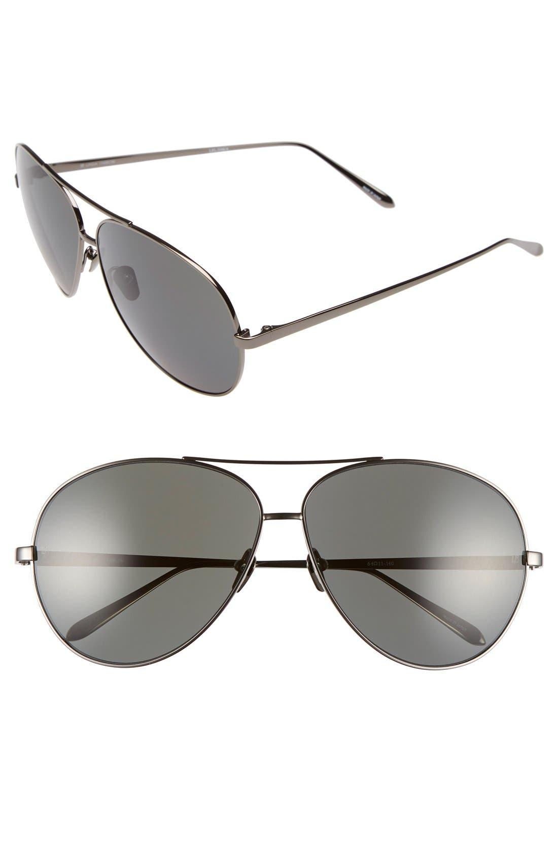 Main Image - Linda Farrow 64mm Aviator Sunglasses