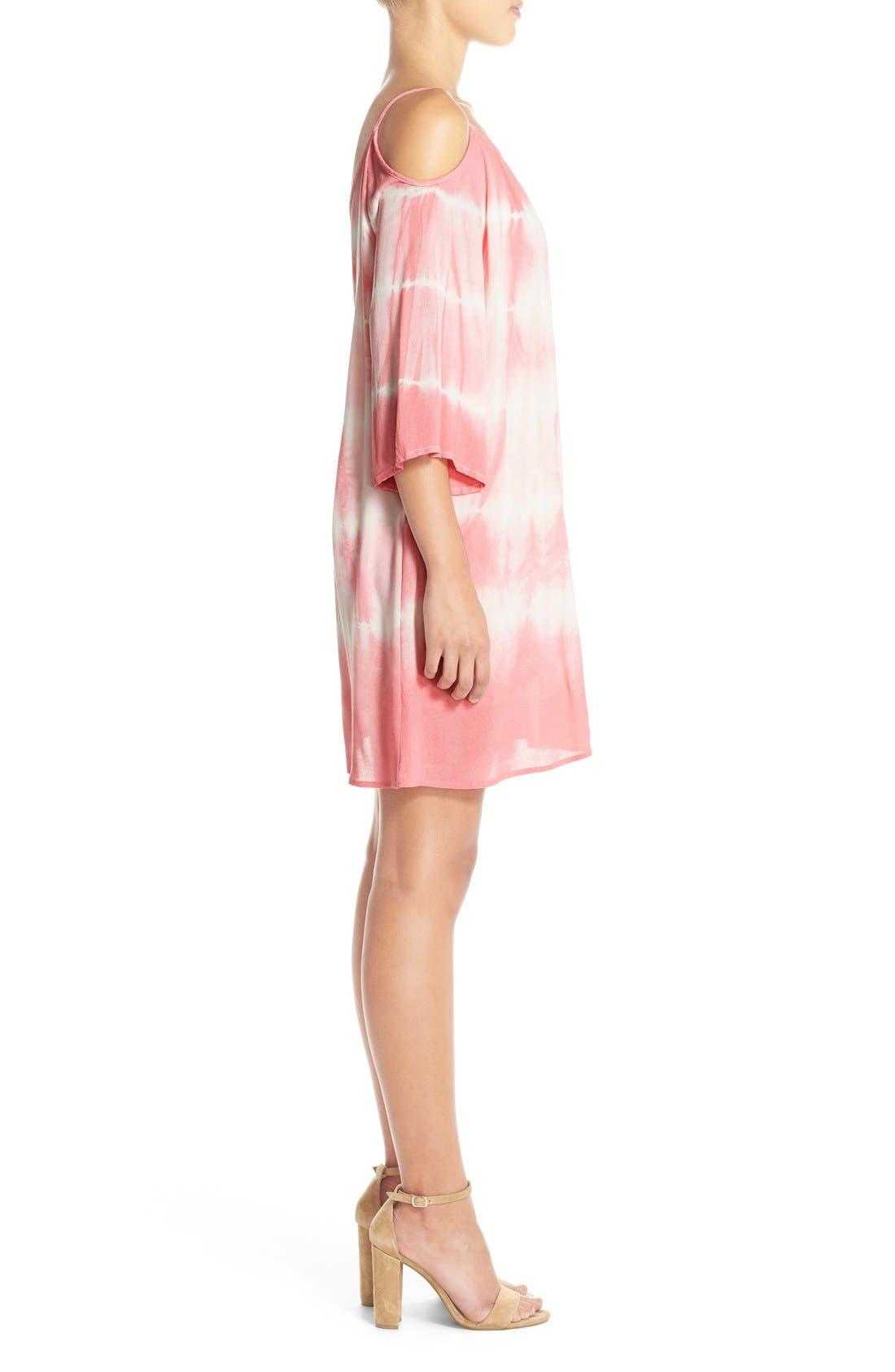 Alternate Image 3  - Fraiche by J Tie Dye Crepe Cold Shoulder Dress