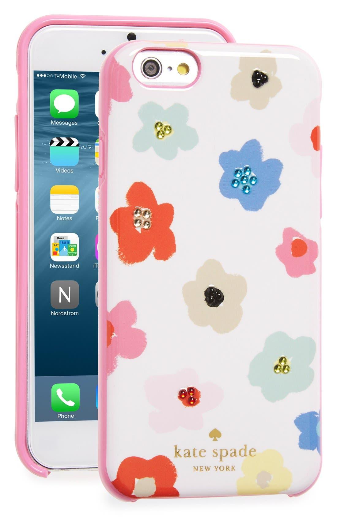 Alternate Image 1 Selected - kate spade new york 'faye' crystal embellished floral iPhone 6 & 6s case