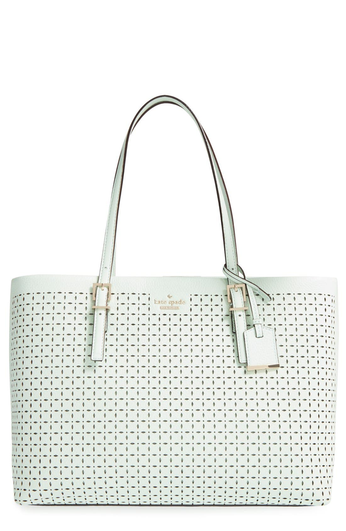 'milton lane - shawn' perforated leather tote,                         Main,                         color, Mint Splash
