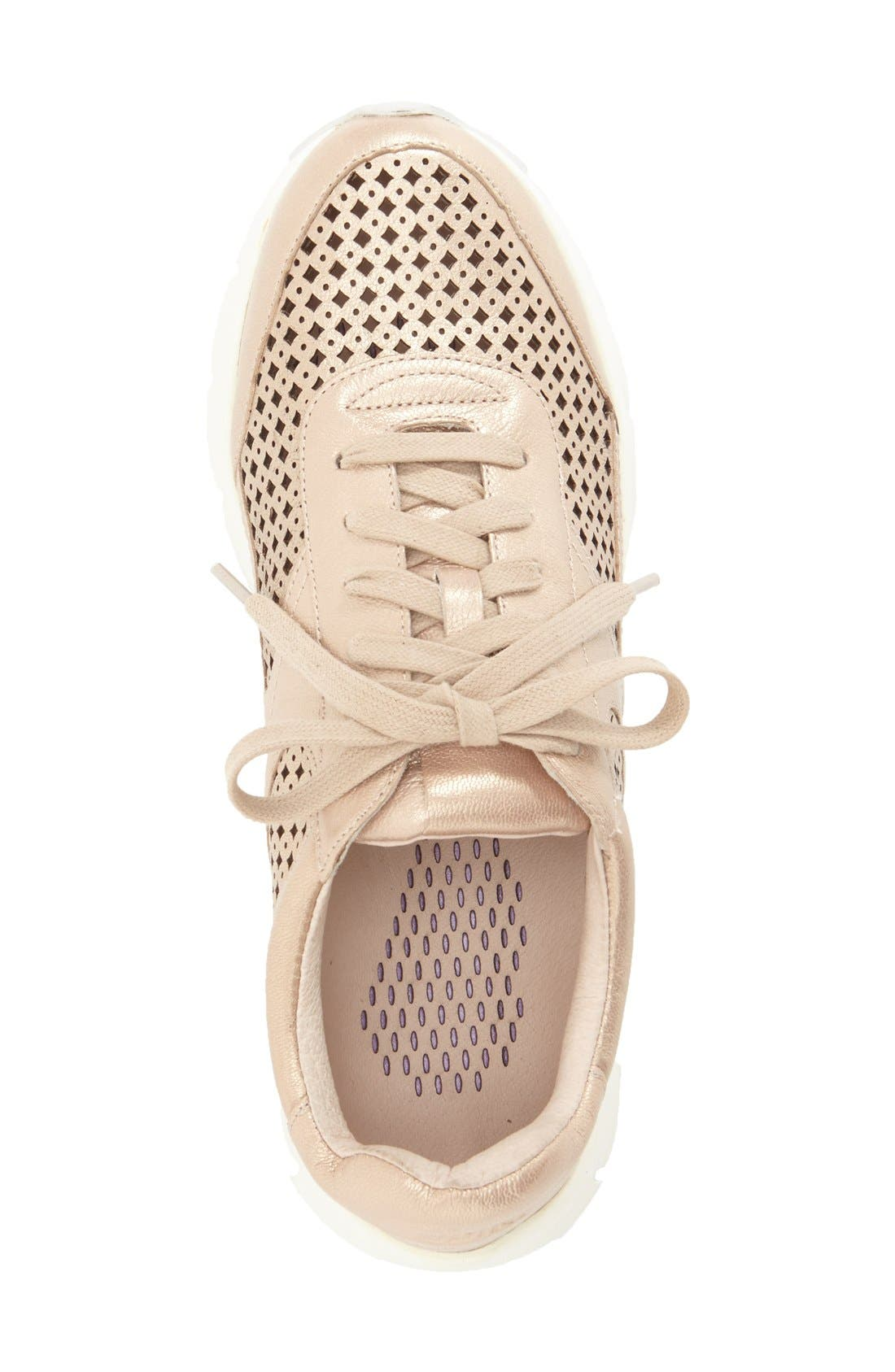 'Tammi' Perforated Leather Sneaker,                             Alternate thumbnail 3, color,                             Sand Leather
