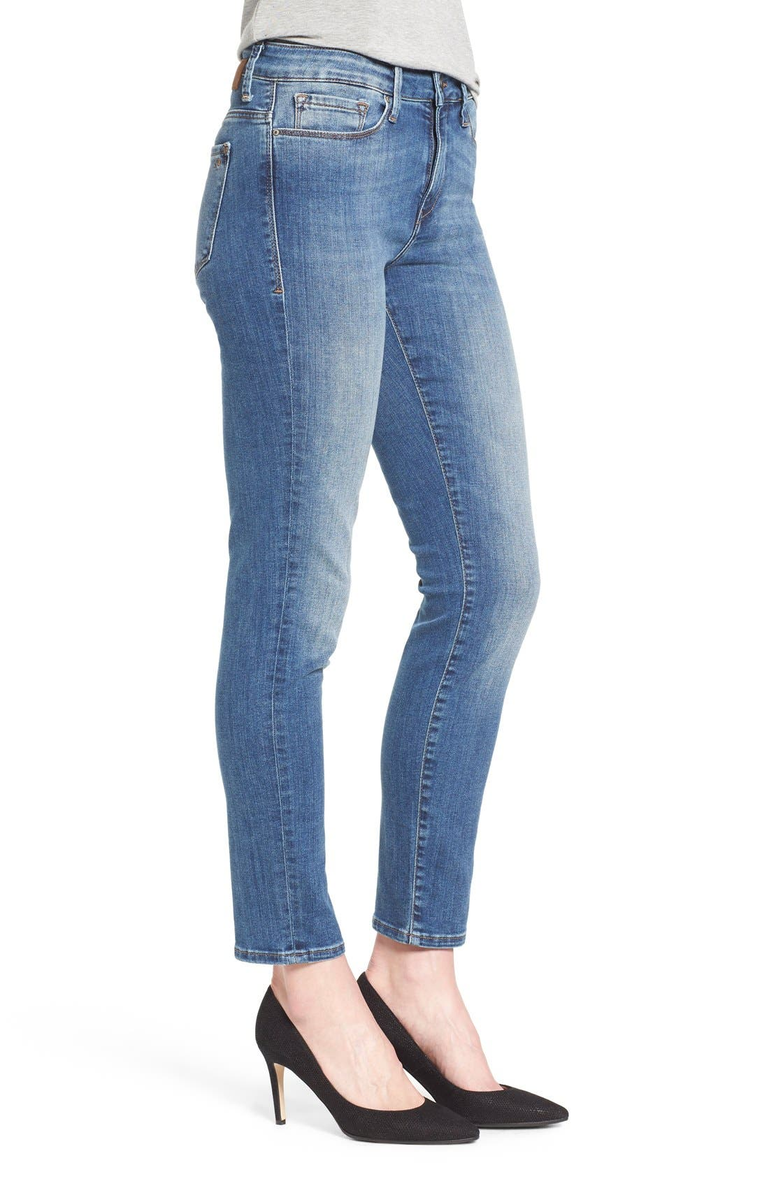 'Alissa' Stretch Slim Ankle Jeans,                             Alternate thumbnail 3, color,                             Light Blue