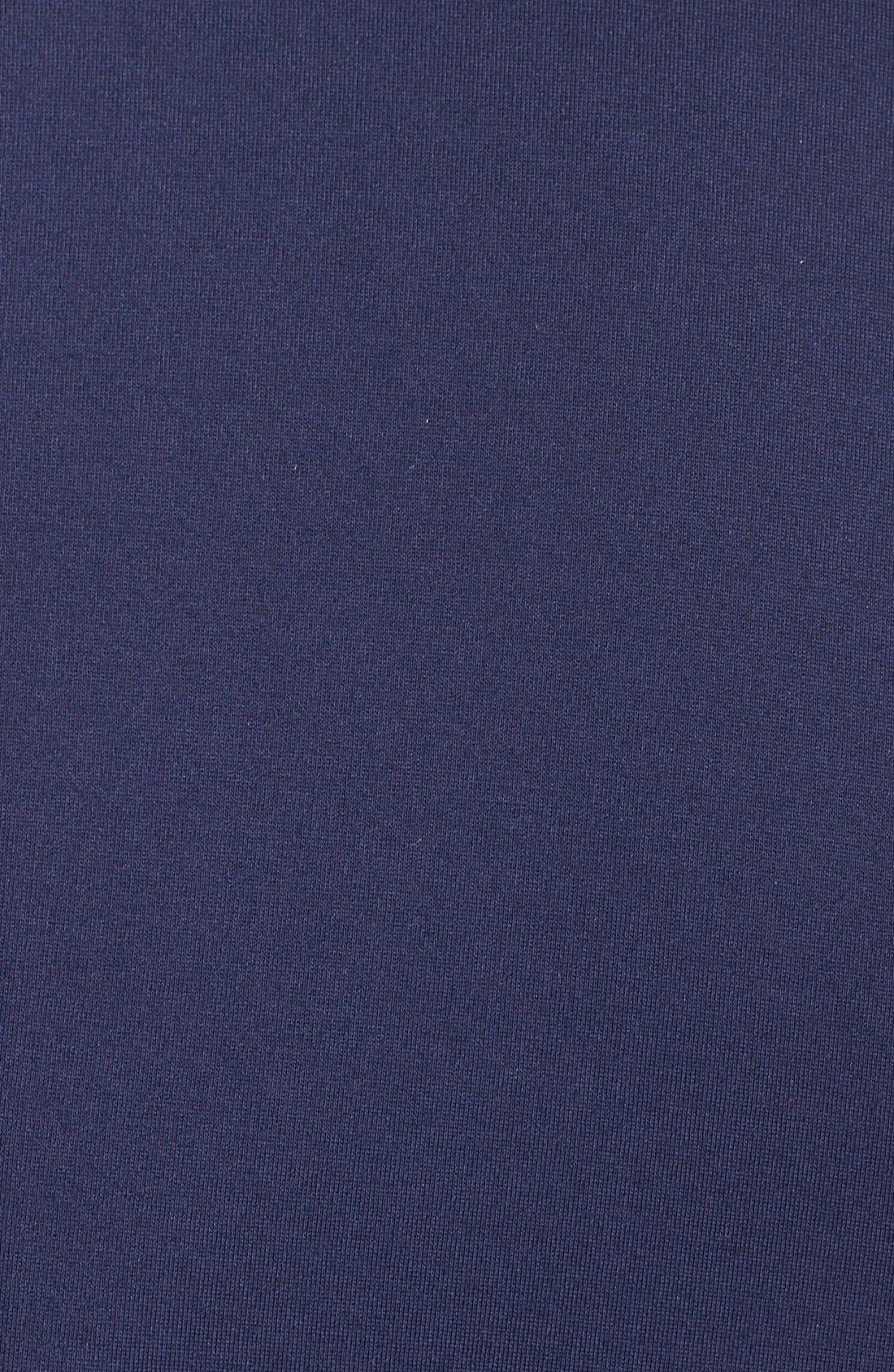 Belted Ponte V-Neck Sheath Dress,                             Alternate thumbnail 5, color,                             Navy Peacoat