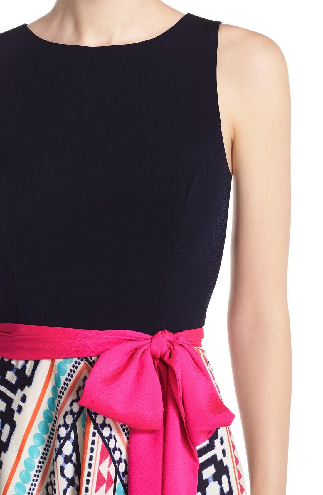 Jersey & Print Crêpe de Chine Maxi Dress,                             Alternate thumbnail 4, color,                             Pink