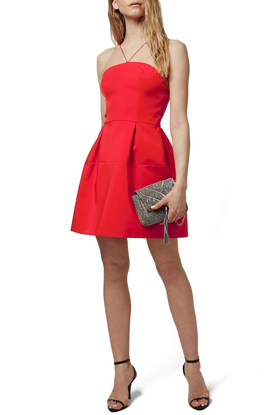 Alternate Image 1 Selected - Topshop Strappy Back Fit & Flare Dress