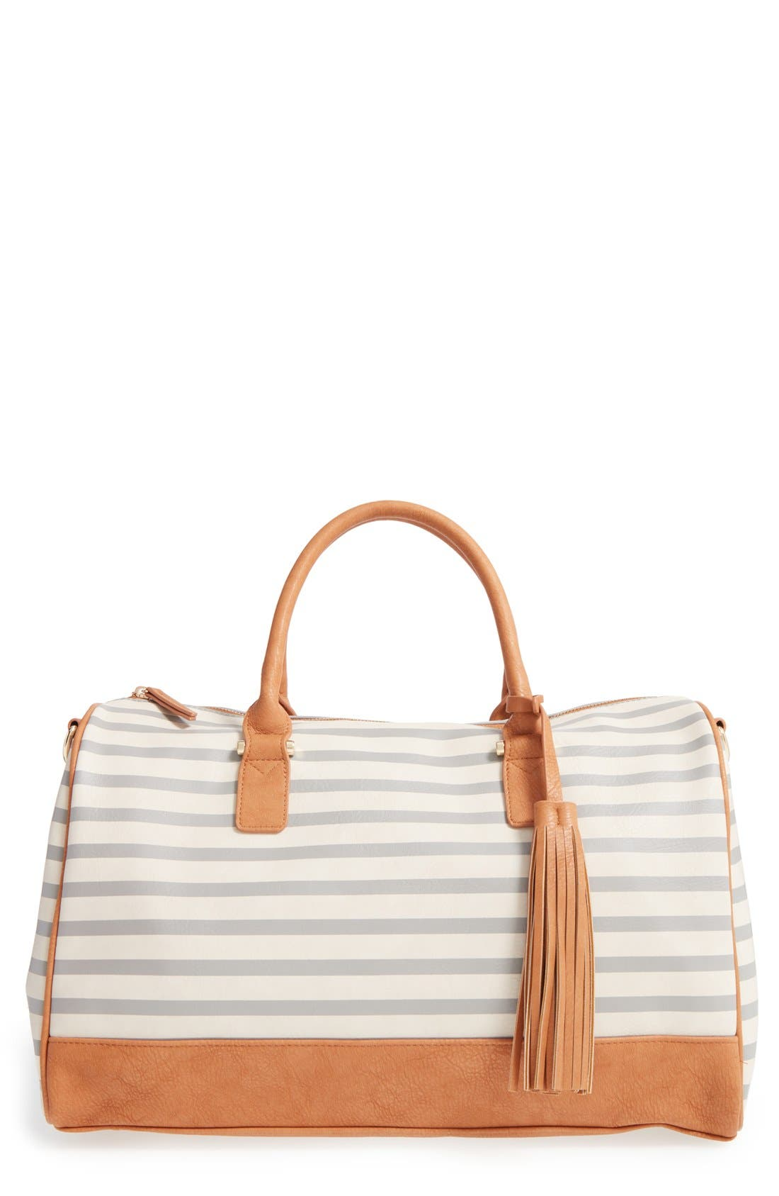 Main Image - Dolce Girl 'Overnighter' Stripe Duffel with Tassel