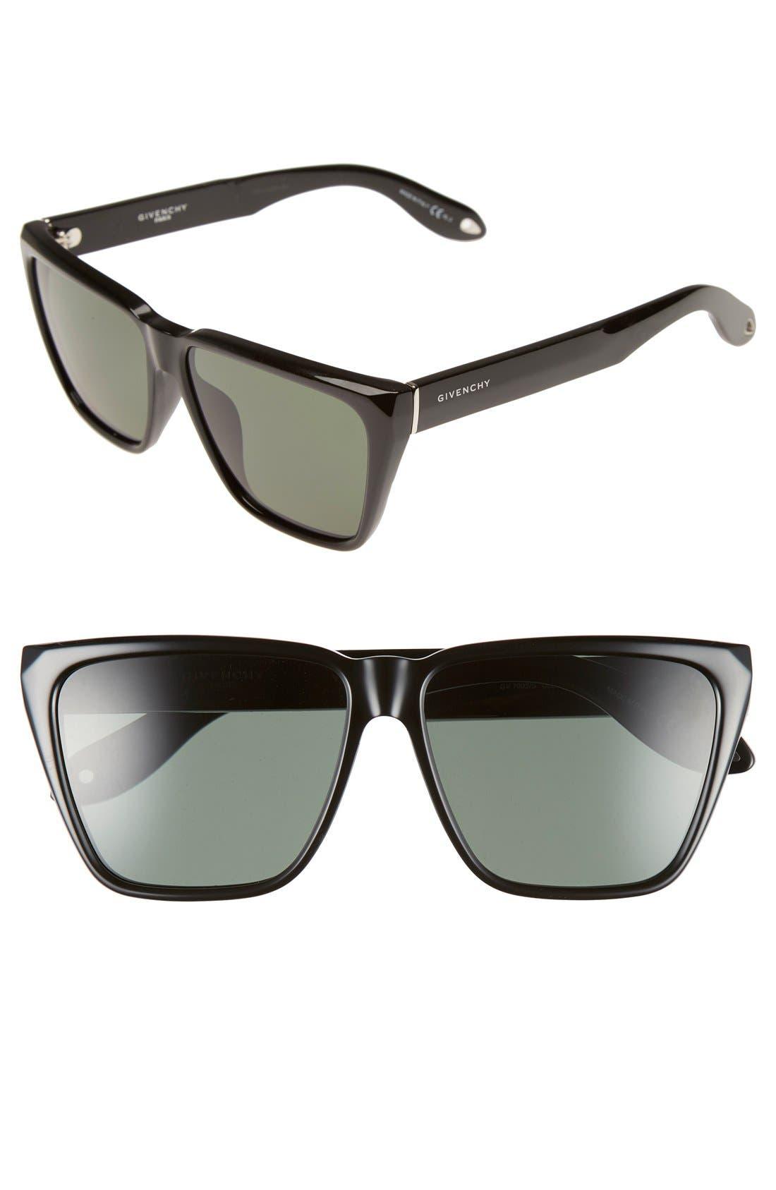58mm Flat Top Sunglasses,                         Main,                         color, Black/ Grey Green