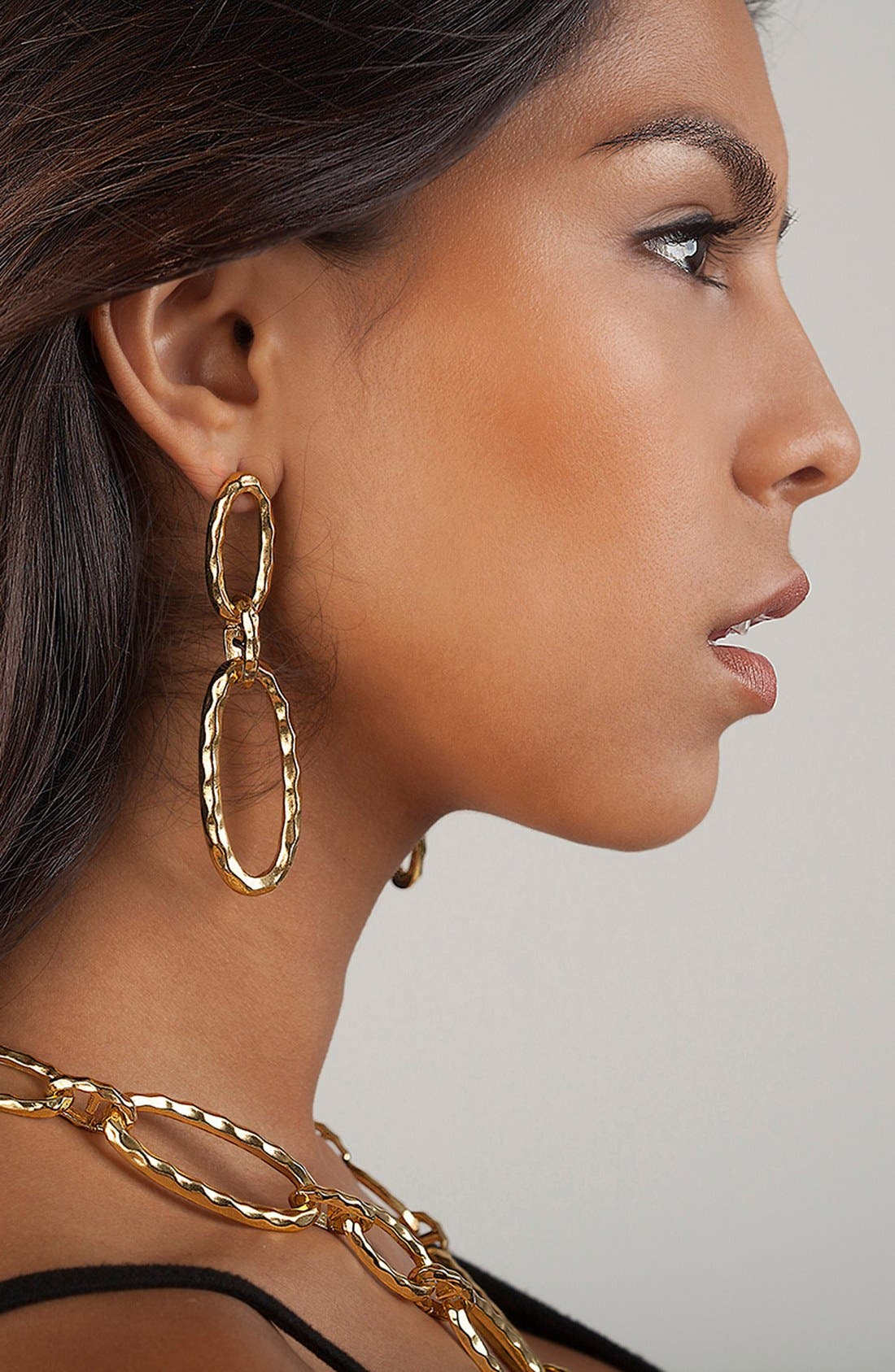 Double Oval Link Earrings,                             Alternate thumbnail 3, color,                             Gold