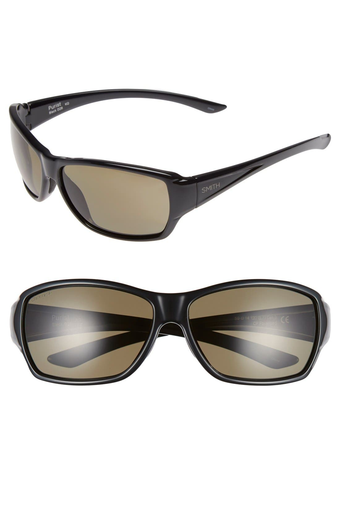 'Purist' 59mm Polarized Sunglasses,                         Main,                         color, Black/ Polarized Grey Green