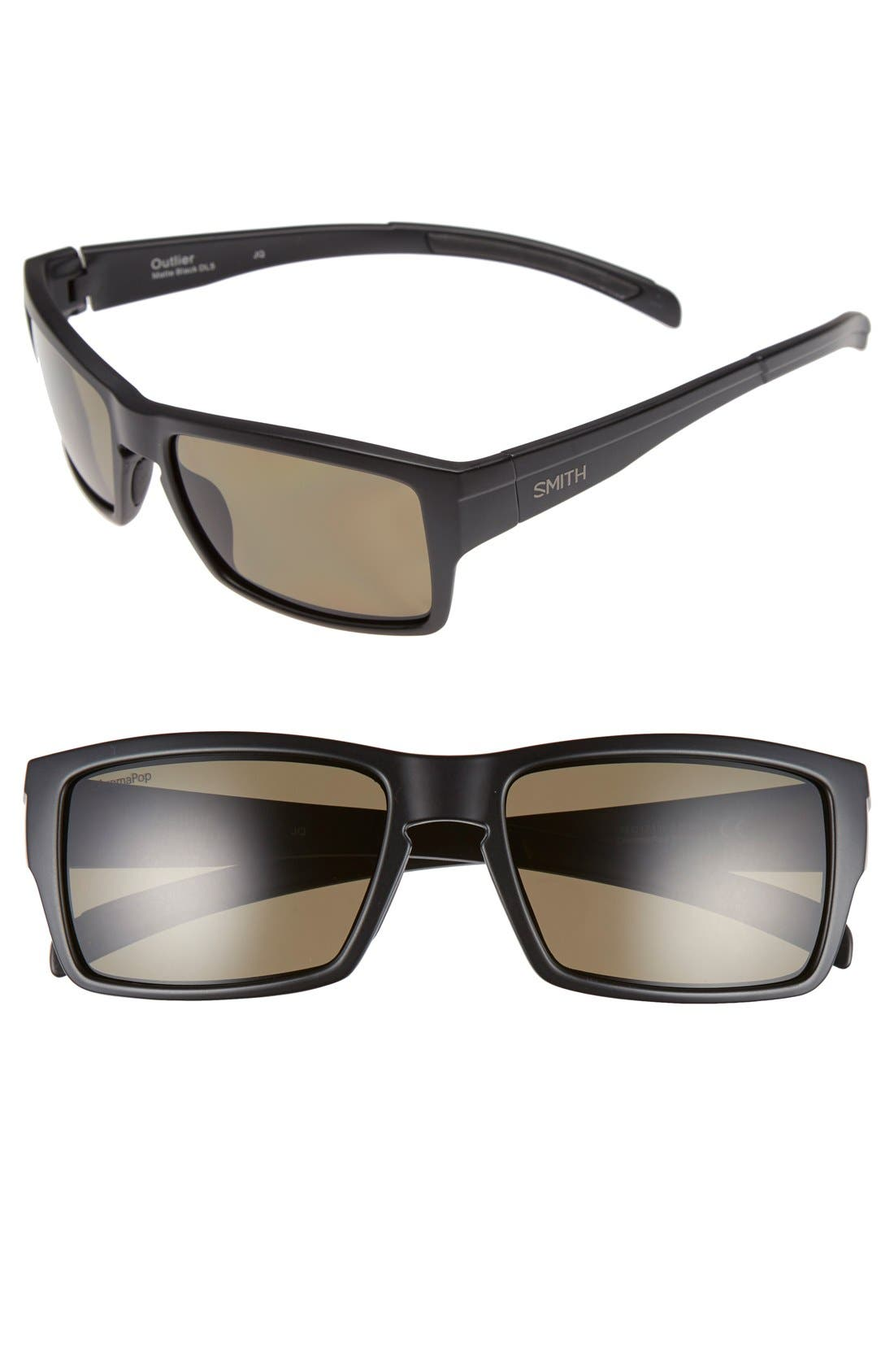 'Outlier' 56mm Polarized Sunglasses,                             Main thumbnail 1, color,                             Matte Black/ Polarized Green