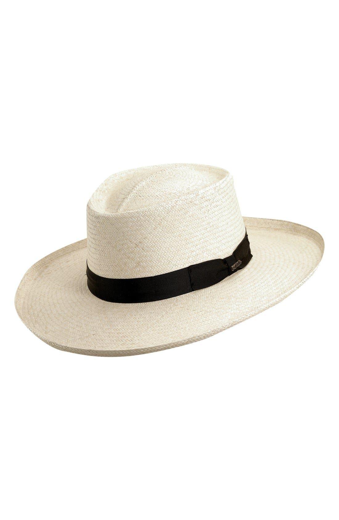 Straw Gambler Hat,                             Main thumbnail 1, color,                             Natural