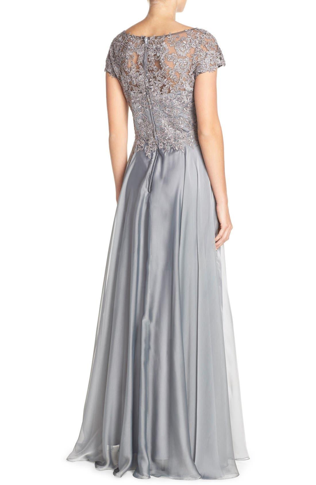 Embellished Lace & Satin Ballgown,                             Alternate thumbnail 2, color,                             Platinum