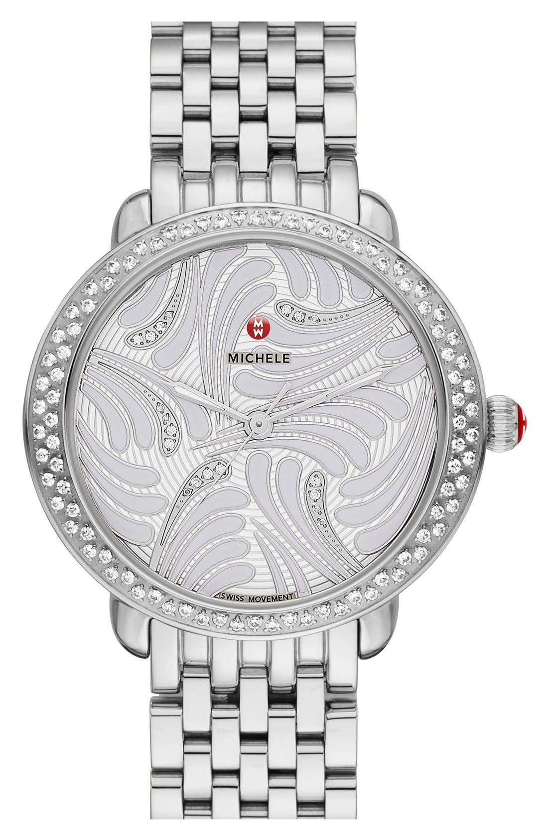 Serein 16 Diamond Watch Case, 34mm x 36mm,                             Alternate thumbnail 2, color,                             Silver/ Silver