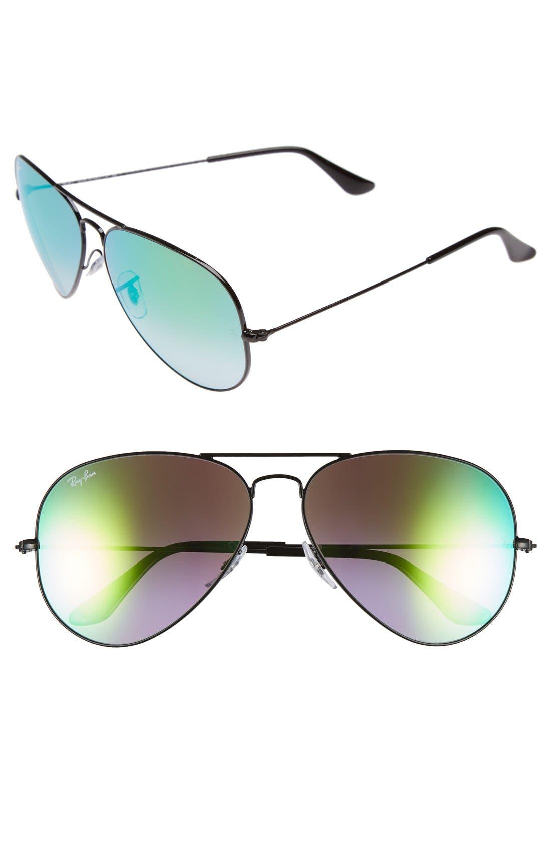 Large Icons 62mm Aviator Sunglasses,                             Main thumbnail 1, color,                             Black/ Green