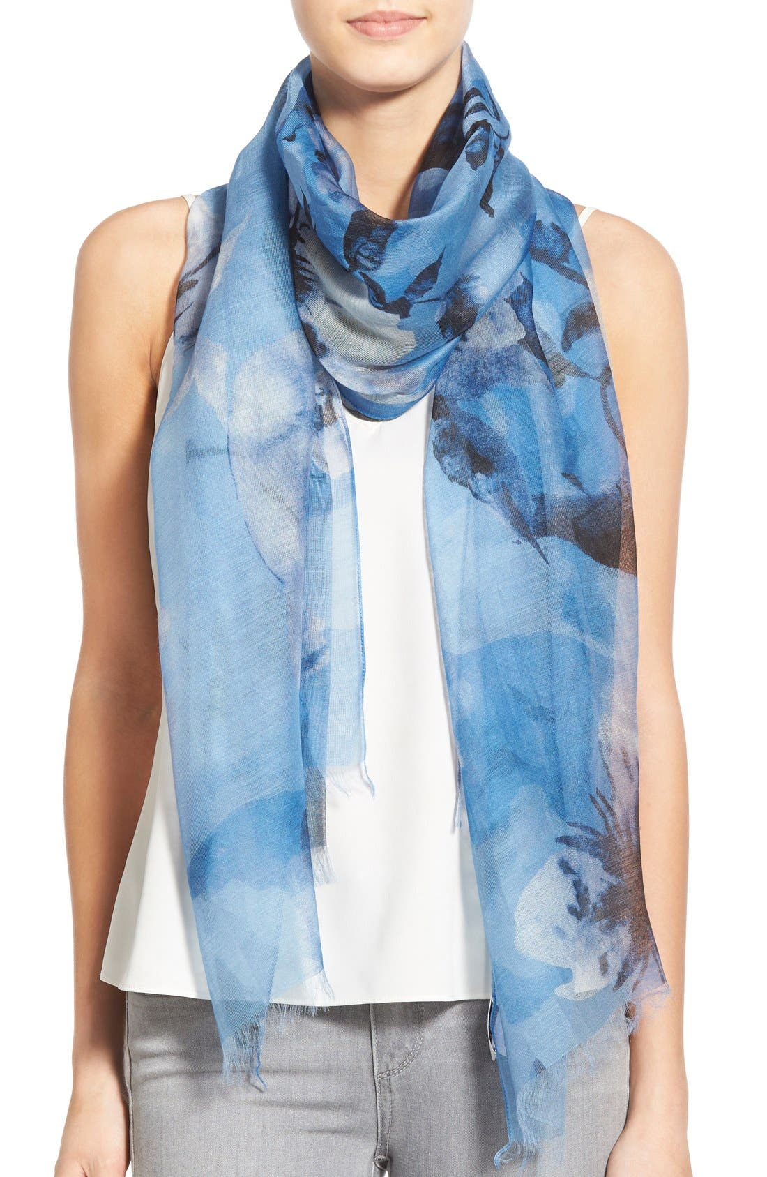 Floral Print Modal & Silk Scarf,                         Main,                         color, Cornflower