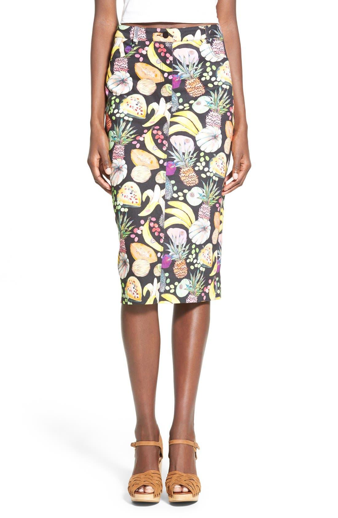 'Hilary' Denim Pencil Skirt,                             Main thumbnail 1, color,                             Tutti Frutti Black