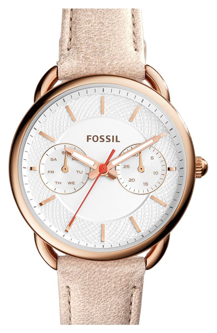 fossil 39 tailor 39 multifunction leather strap watch 35mm. Black Bedroom Furniture Sets. Home Design Ideas