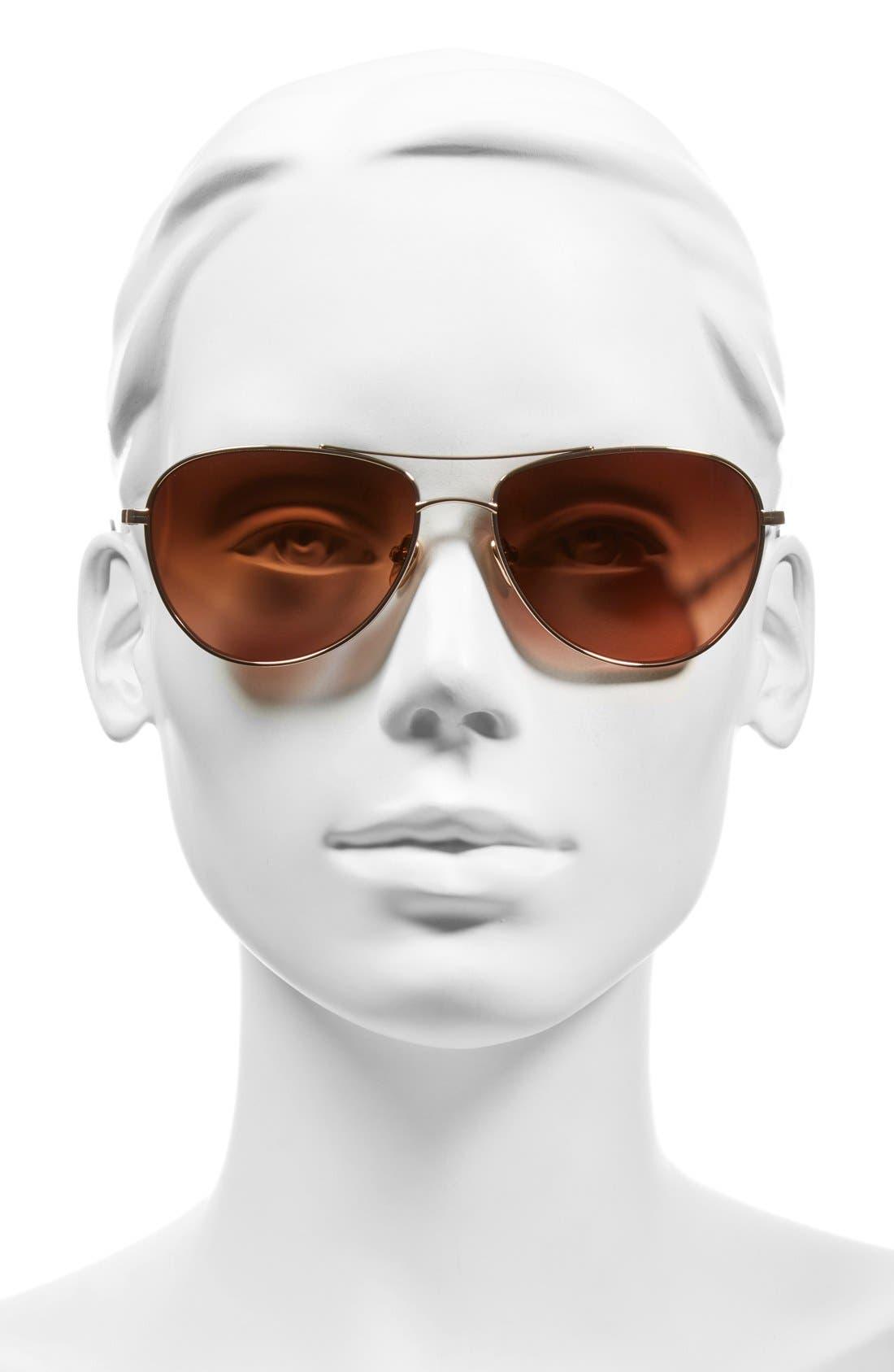 'Pratt' 57mm Aviator Sunglasses,                             Alternate thumbnail 2, color,                             Honey Gold
