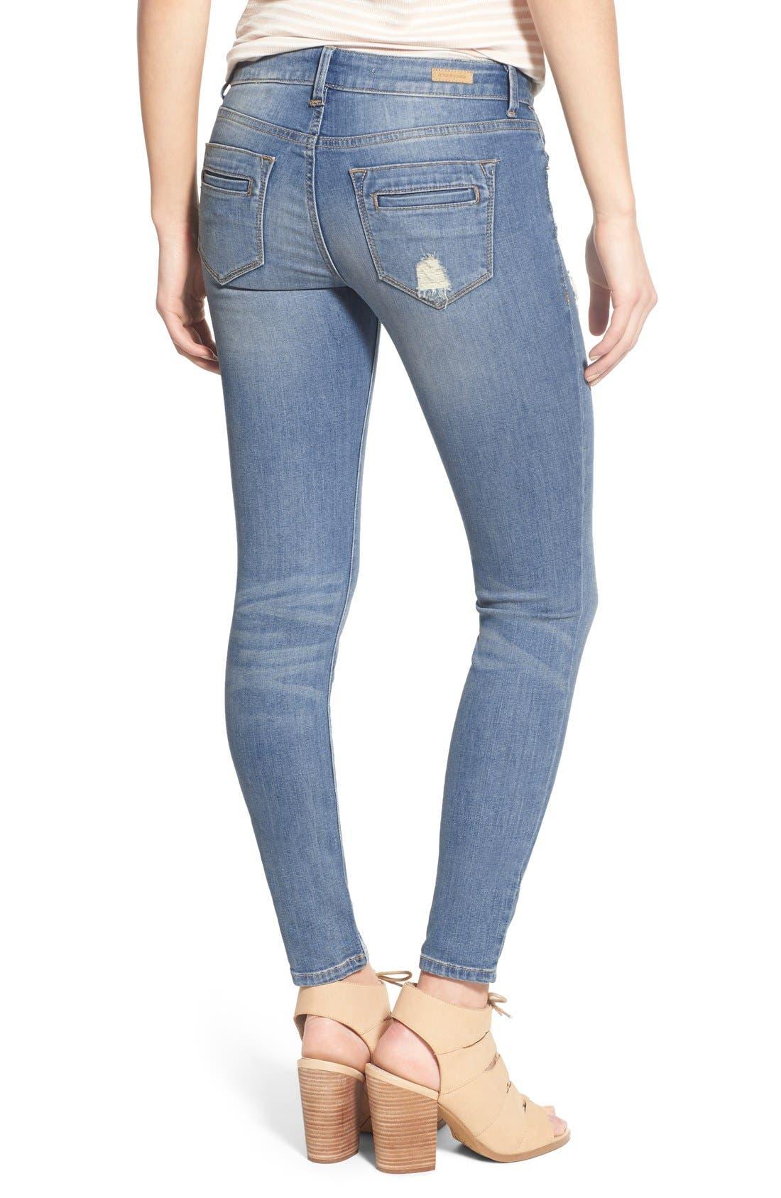 Alternate Image 2  - SP Black Distressed Skinny Jeans (Light Wash)