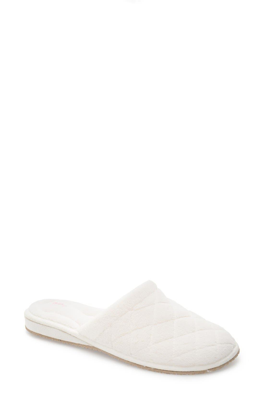 'Aria' Plush Slipper,                             Main thumbnail 1, color,                             White Polyester