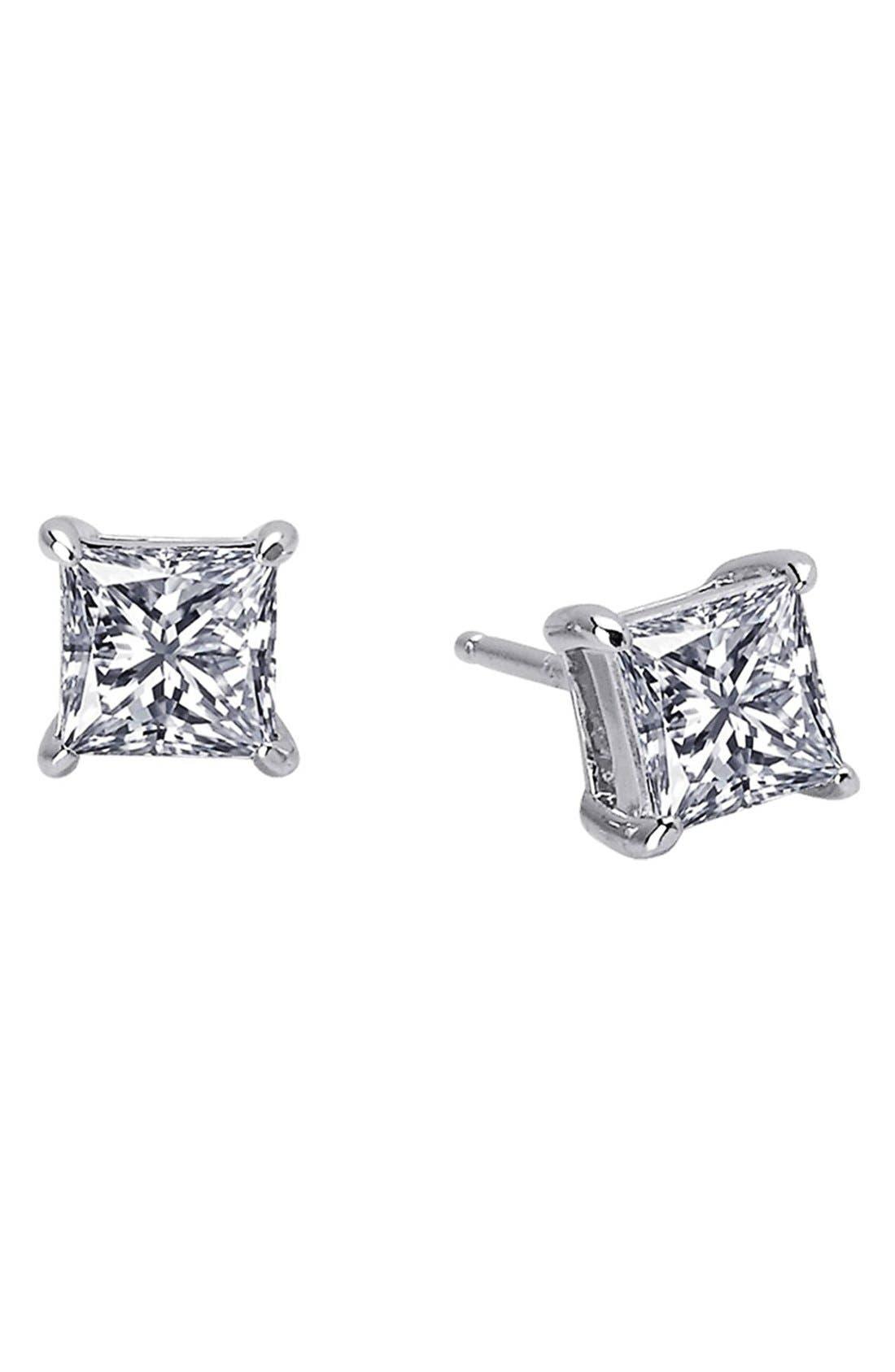 'Lassaire' Princess Cut Stud Earrings,                         Main,                         color, Silver