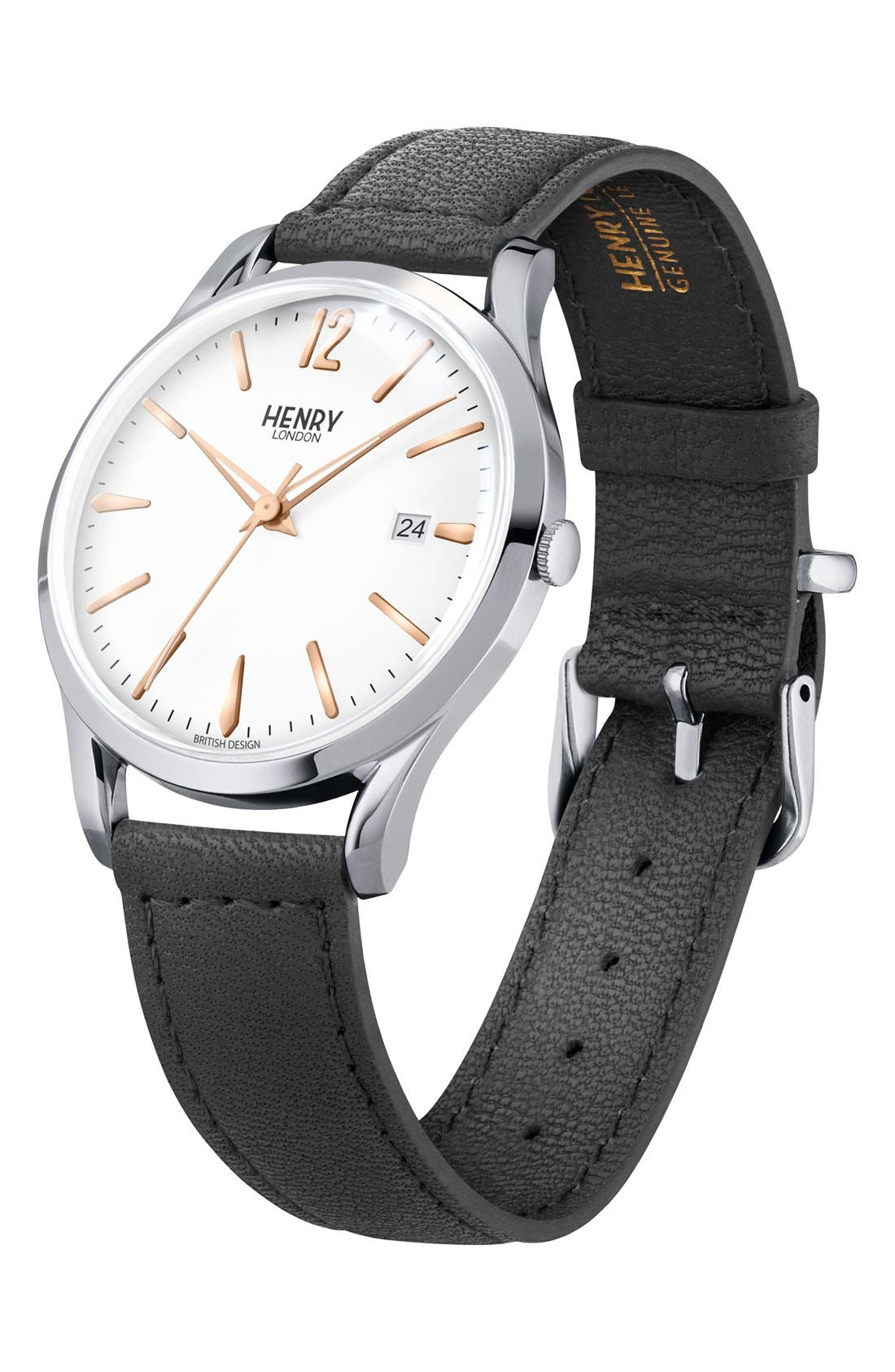 'Highgate' Leather Strap Watch, 38mm,                             Alternate thumbnail 3, color,                             Black/ White