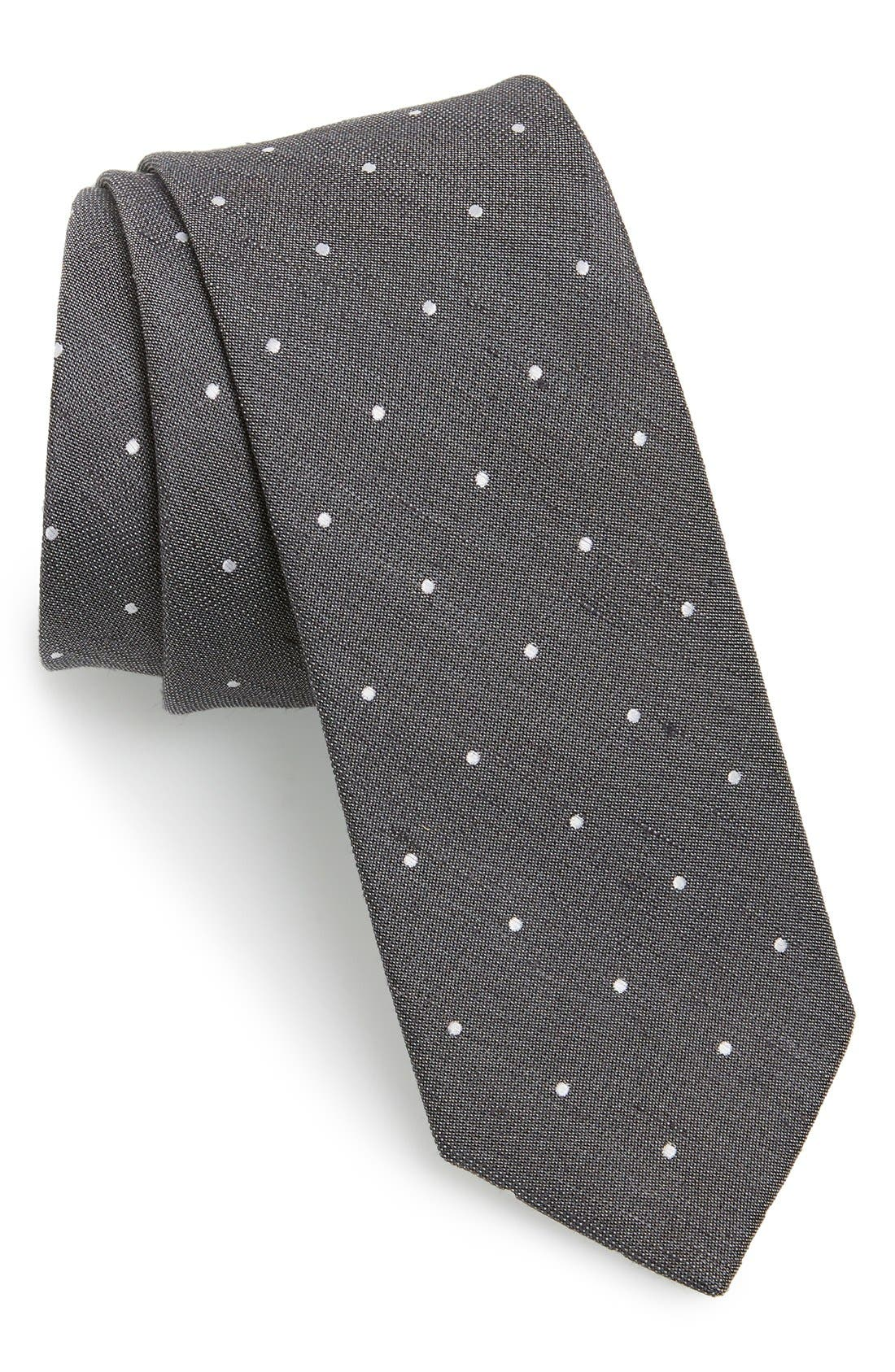 Dot Silk & Linen Tie,                             Main thumbnail 1, color,                             Grey