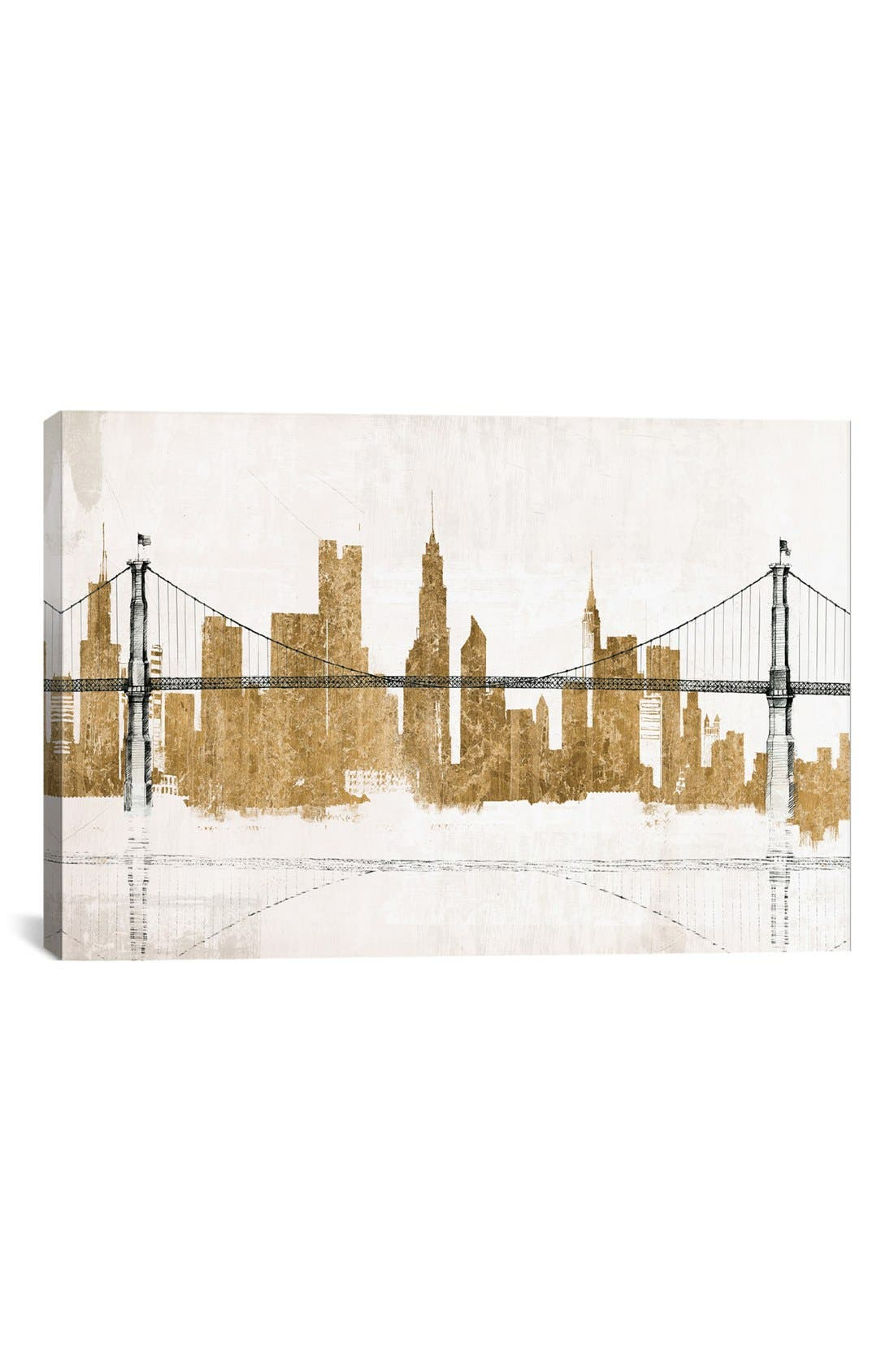 'Bridge Skyline' Giclée Print Canvas Art,                             Main thumbnail 1, color,                             White