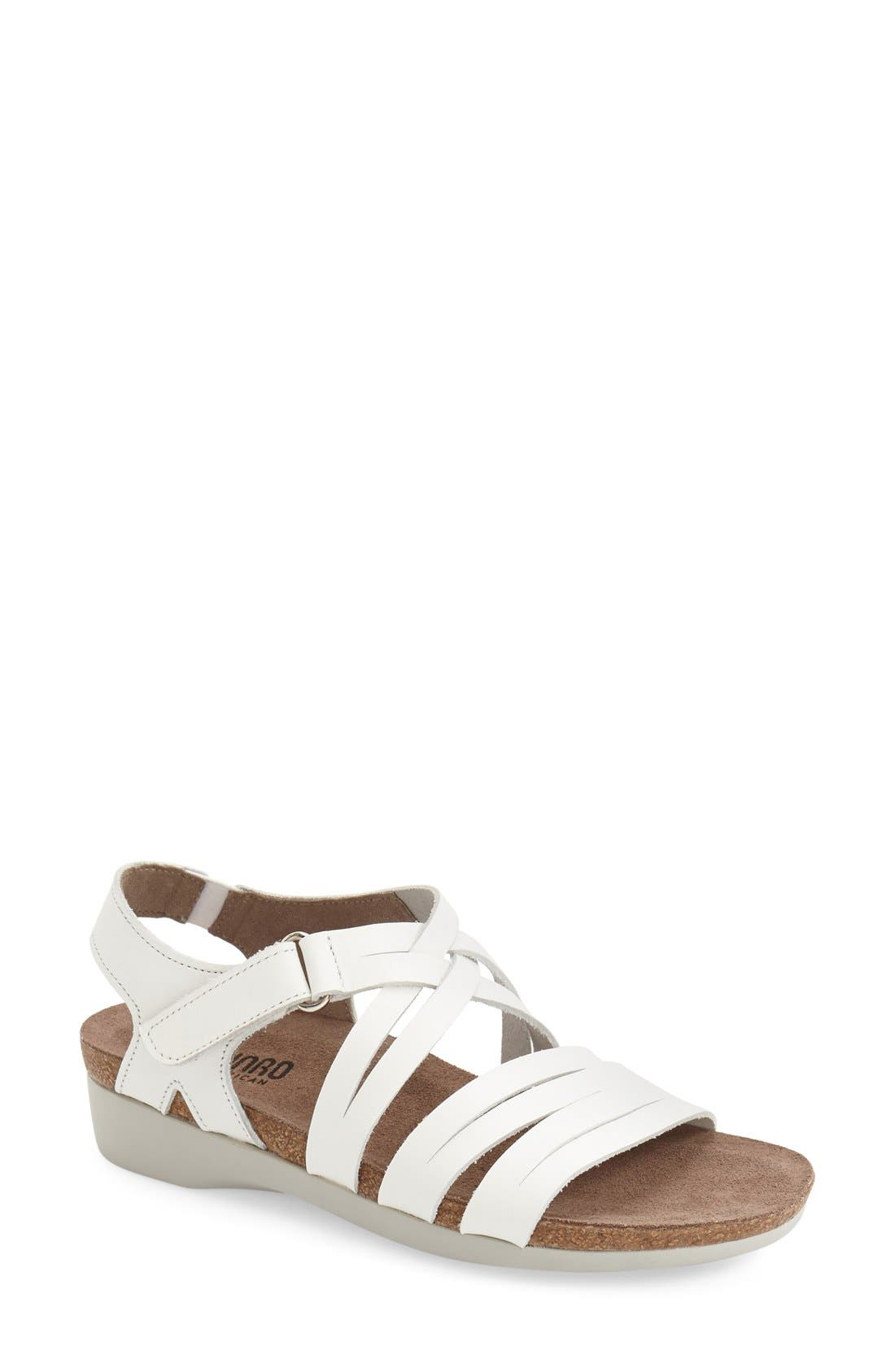 'Kaya' Strappy Sandal,                             Main thumbnail 1, color,                             White Leather