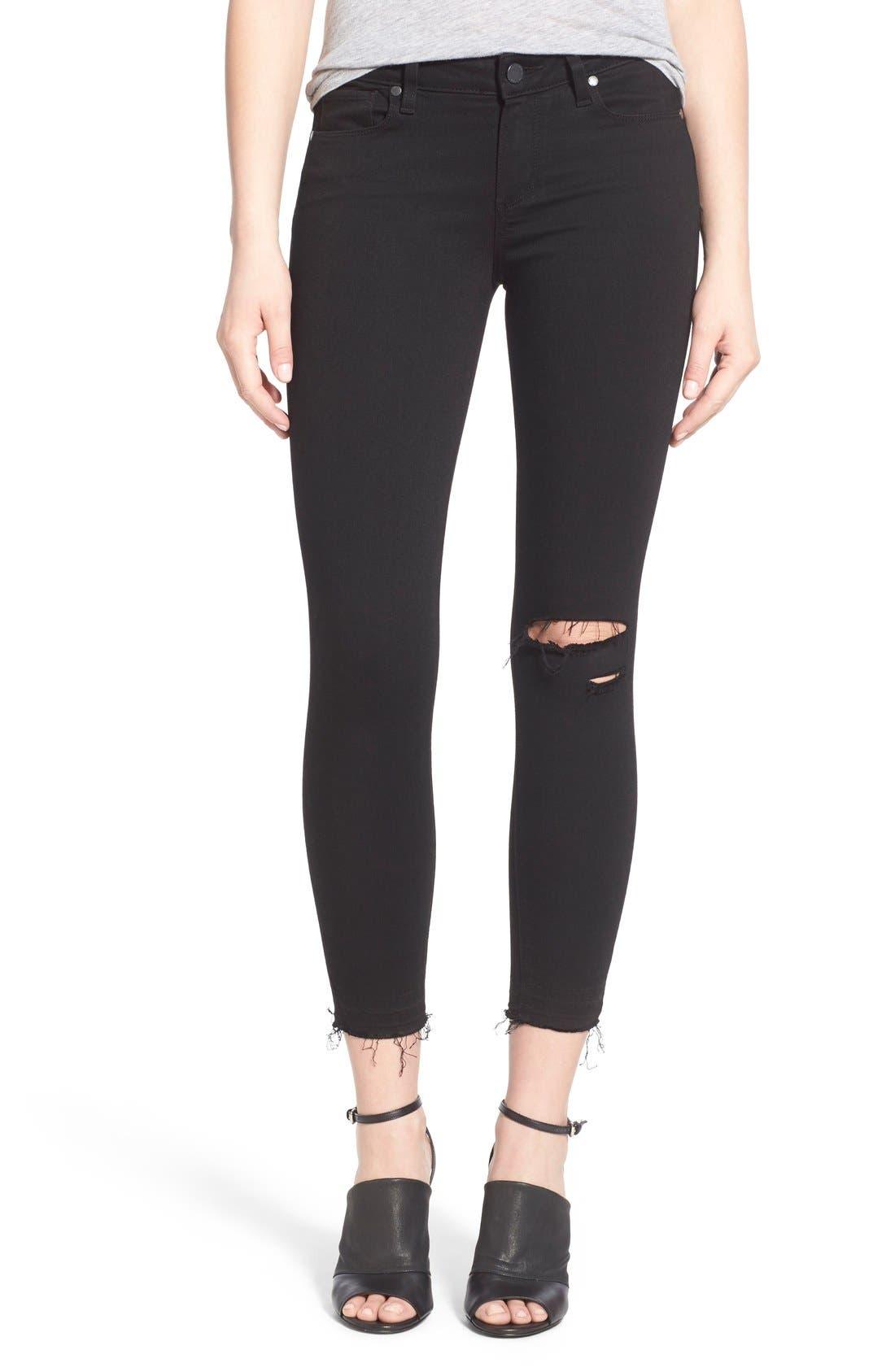PAIGE Transcend - Verdugo Crop Skinny Jeans (Black Destructed)