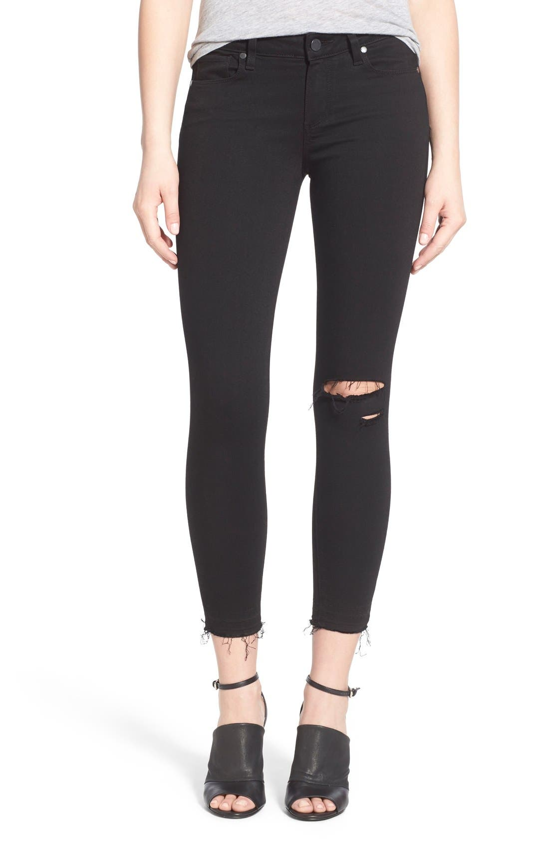 PAIGE Transcend - Verdugo Crop Skinny Jeans (Black Destructed)
