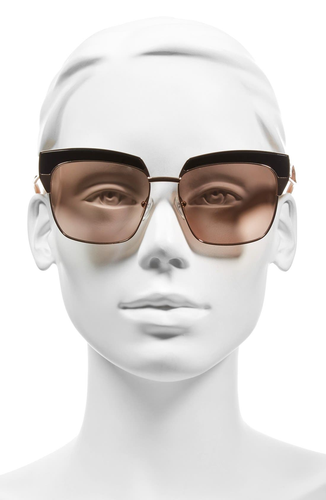 'Visetos' 56mm Retro Sunglasses,                             Alternate thumbnail 2, color,                             Shiny Rose Gold/ Nude Visetos