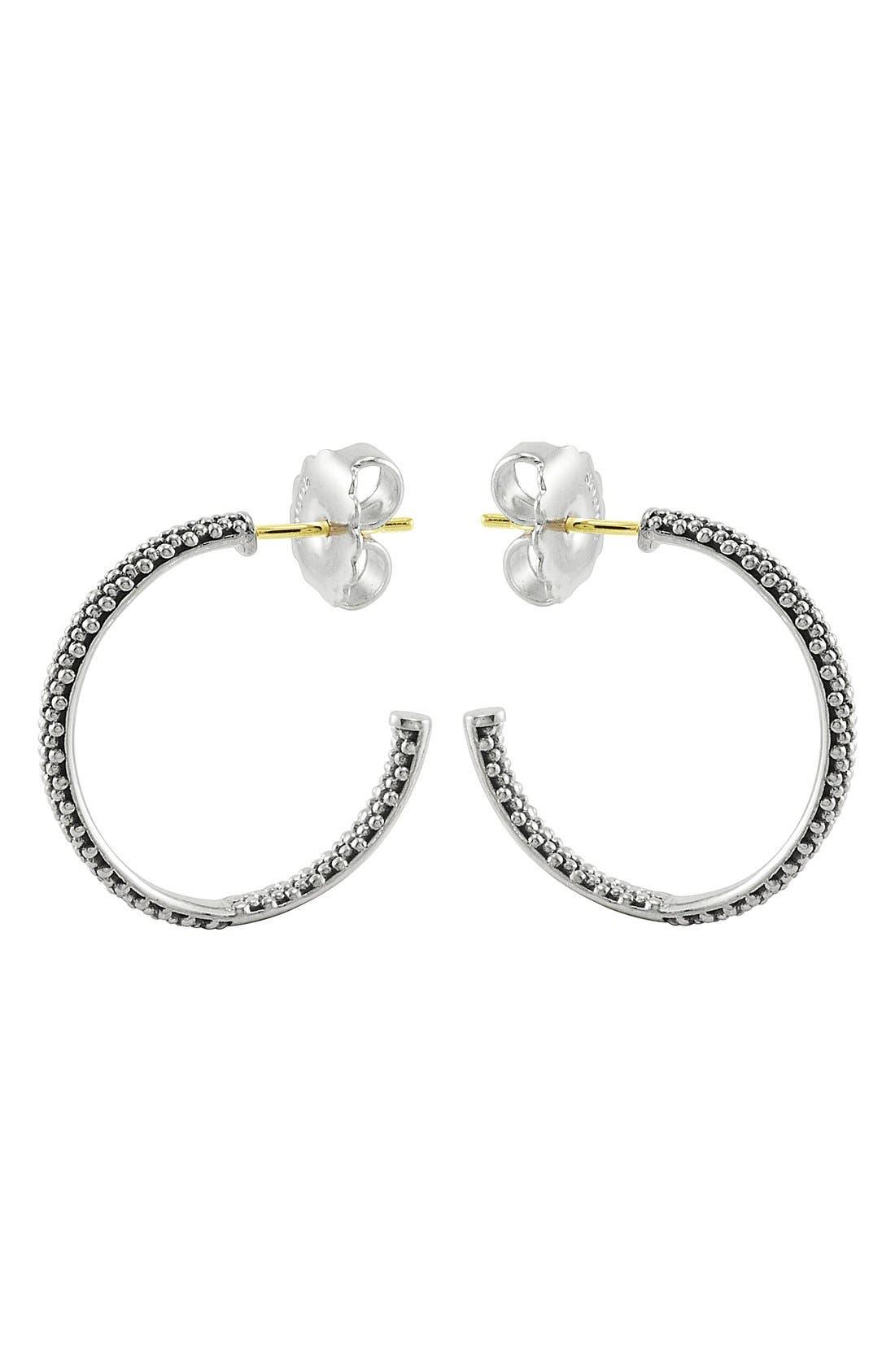 Caviar Hoop Earrings,                             Alternate thumbnail 2, color,                             Sterling Silver