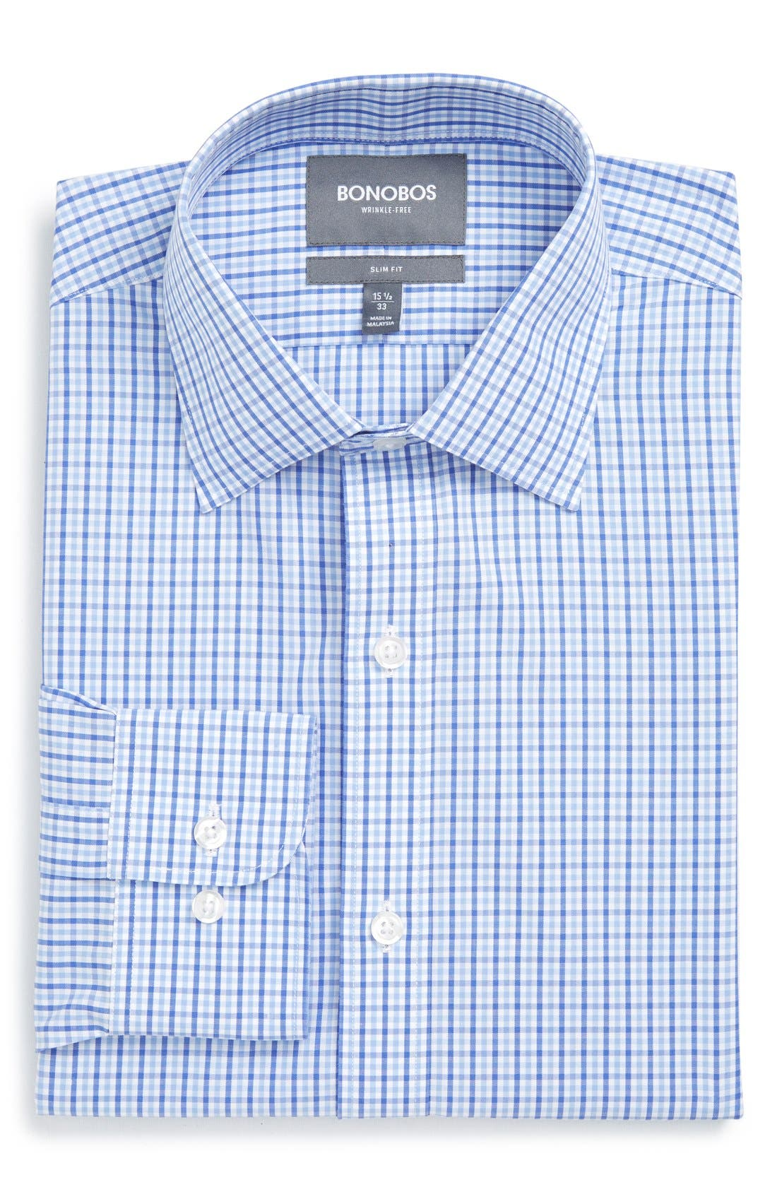 Slim Fit Wrinkle Free Check Dress Shirt,                             Alternate thumbnail 4, color,                             Pale Blue