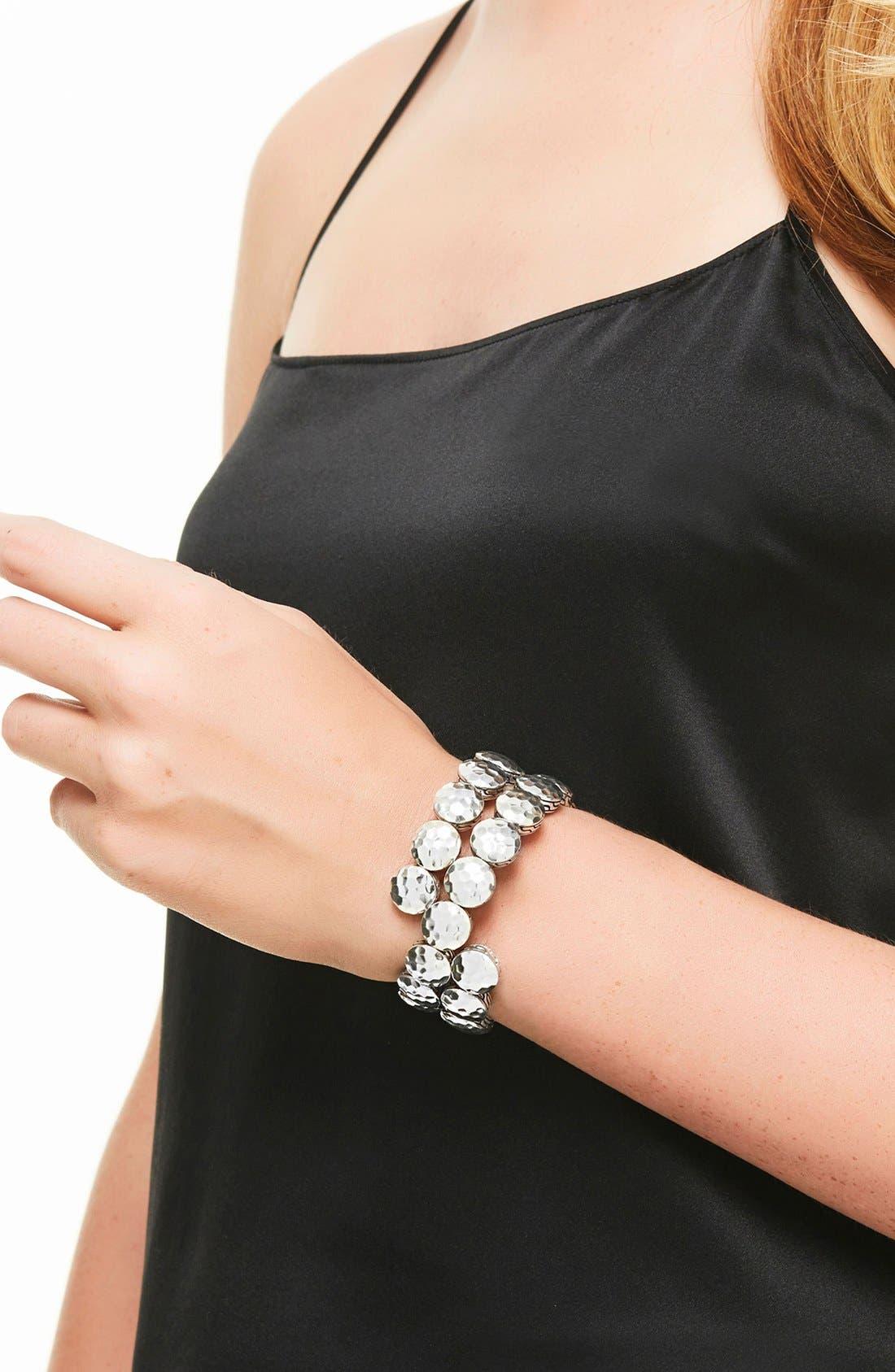 'Dot' Disc Double Coil Bracelet,                             Alternate thumbnail 2, color,                             Silver