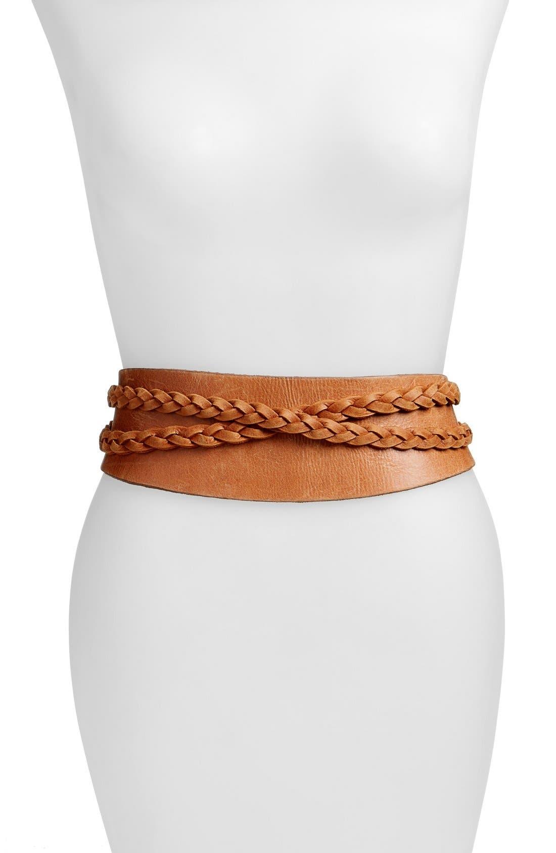 Ada 'Dakota' Braided Leather Wrap Belt