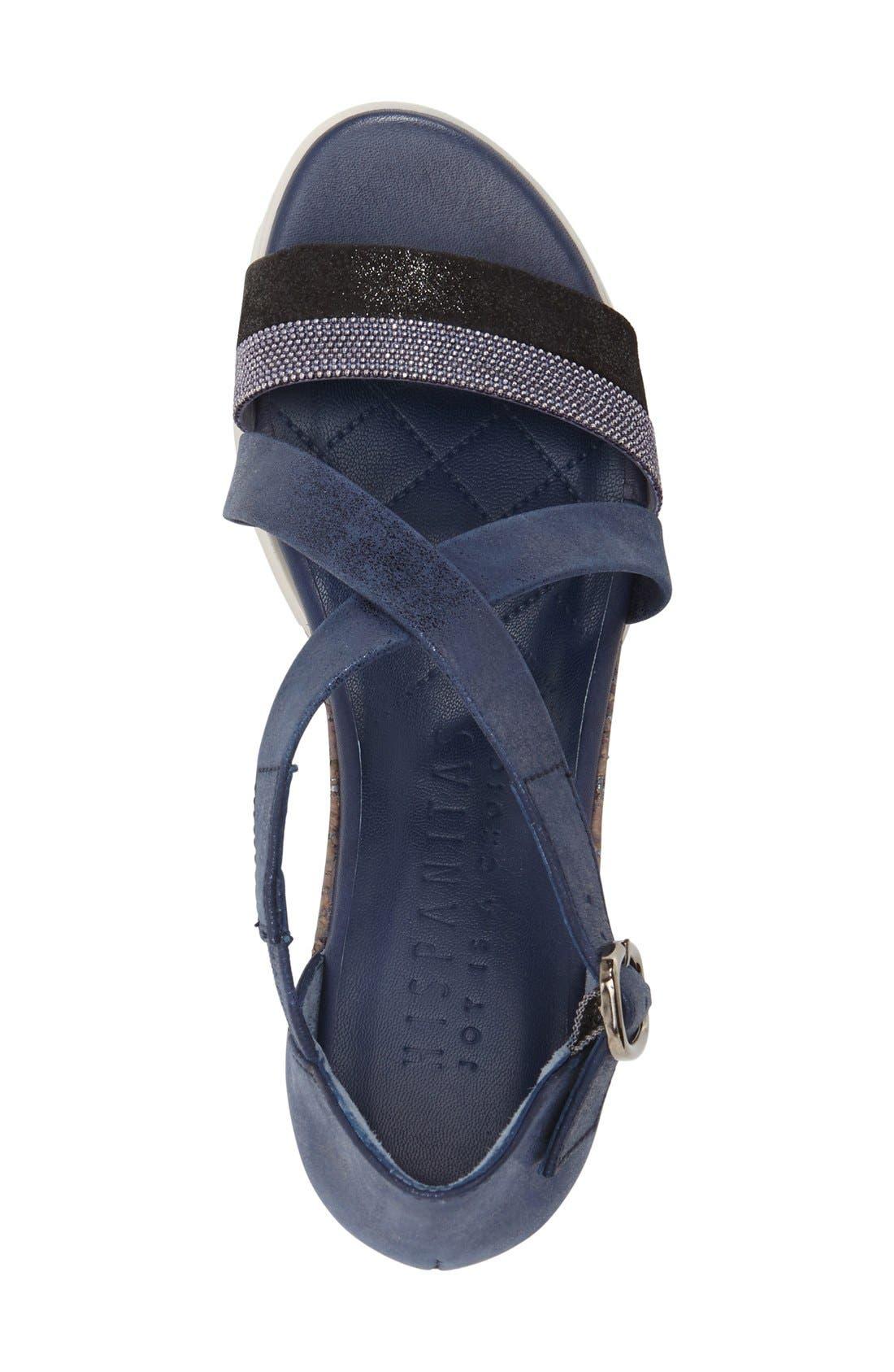 'Kennedi' Wedge Sandal,                             Alternate thumbnail 3, color,                             Jeans Leather