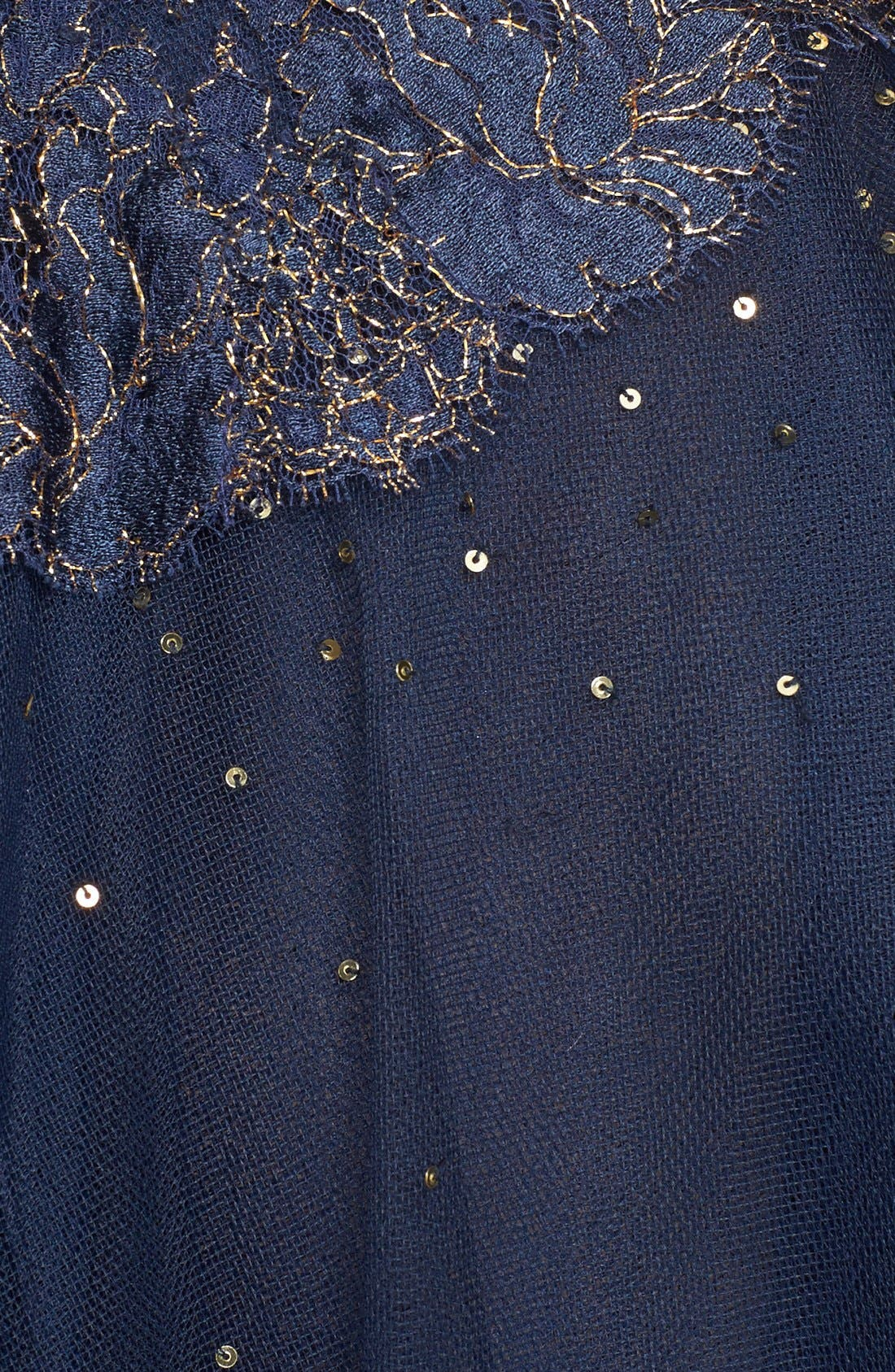 Chantilly Lace & Embellished Tulle High/Low Dress,                             Alternate thumbnail 3, color,                             Navy