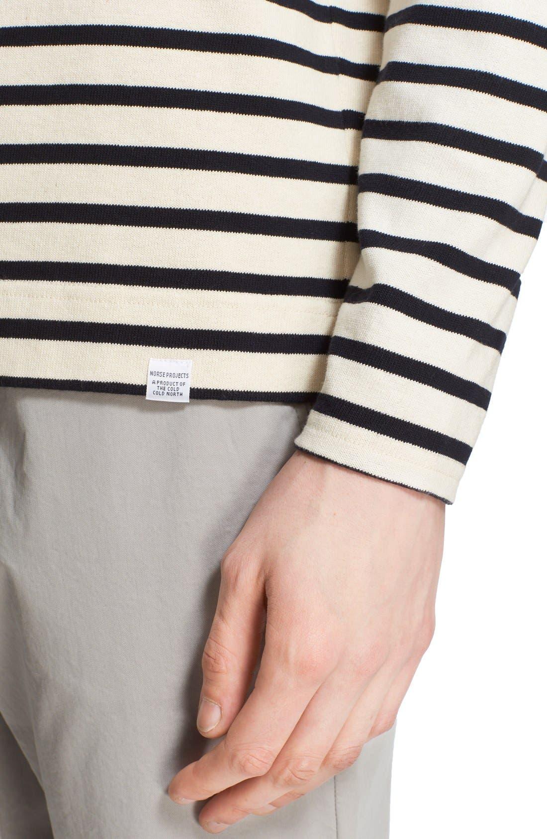 'Godtfred' Stripe Long Sleeve T-Shirt,                             Alternate thumbnail 4, color,                             Ecru Navy