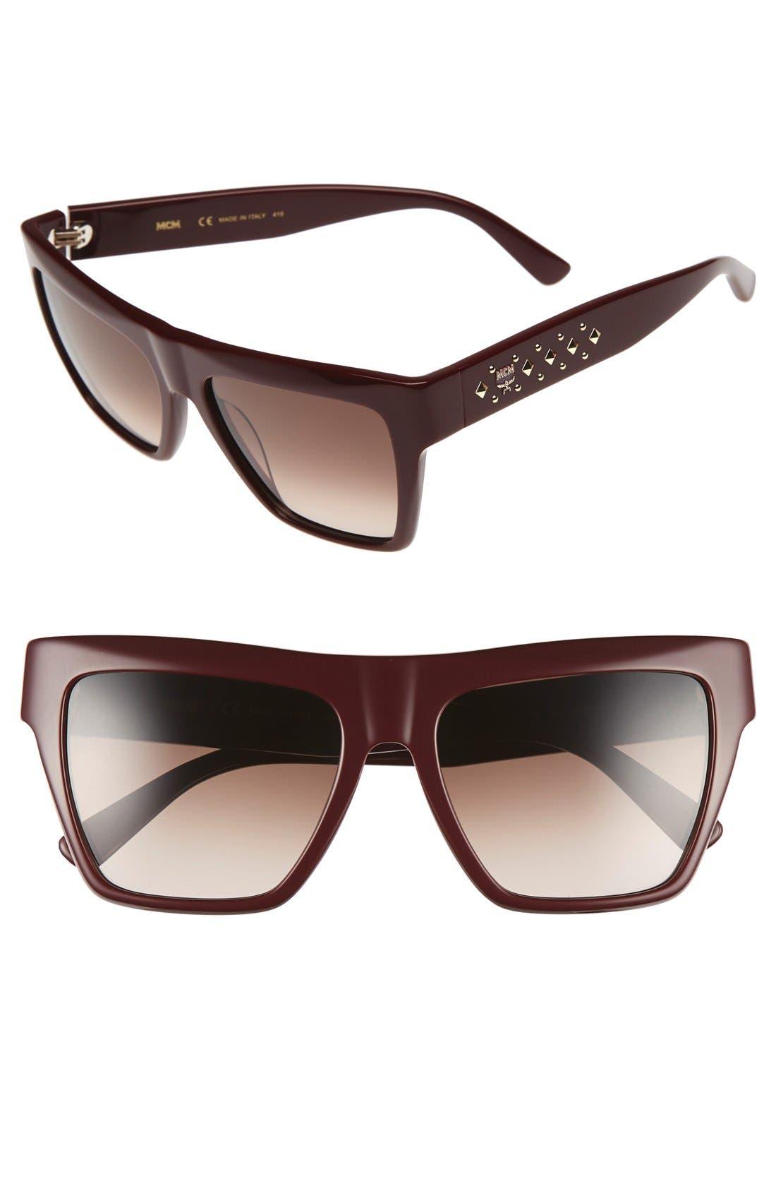 55mm Studded Navigator Sunglasses,                         Main,                         color, Burgundy