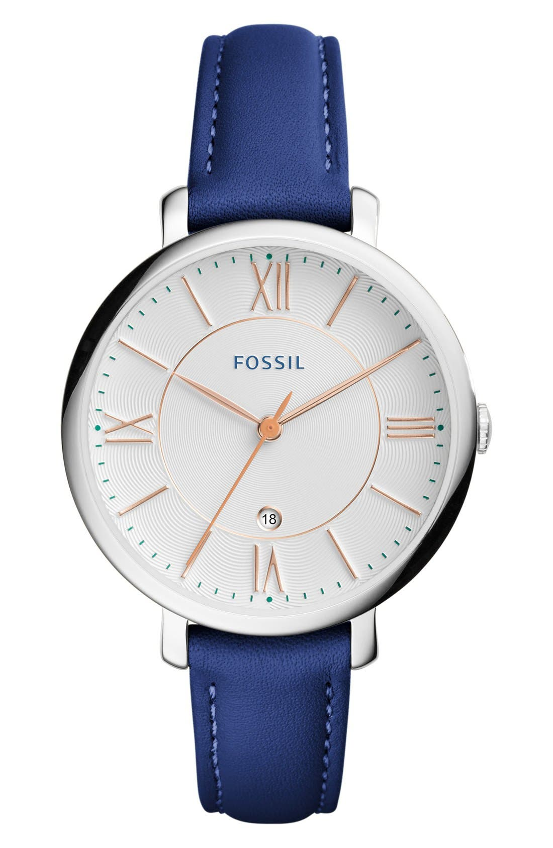 Alternate Image 1 Selected - Fossil 'Jacqueline' Leather Strap Watch, 36mm