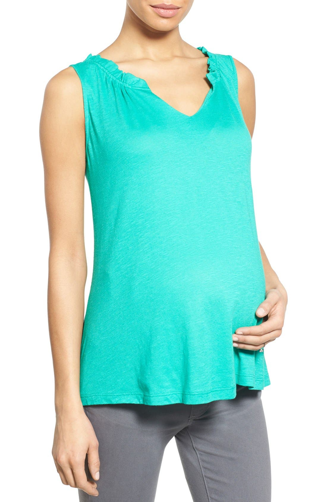 'Caitlin' Maternity Top,                             Main thumbnail 1, color,                             Green
