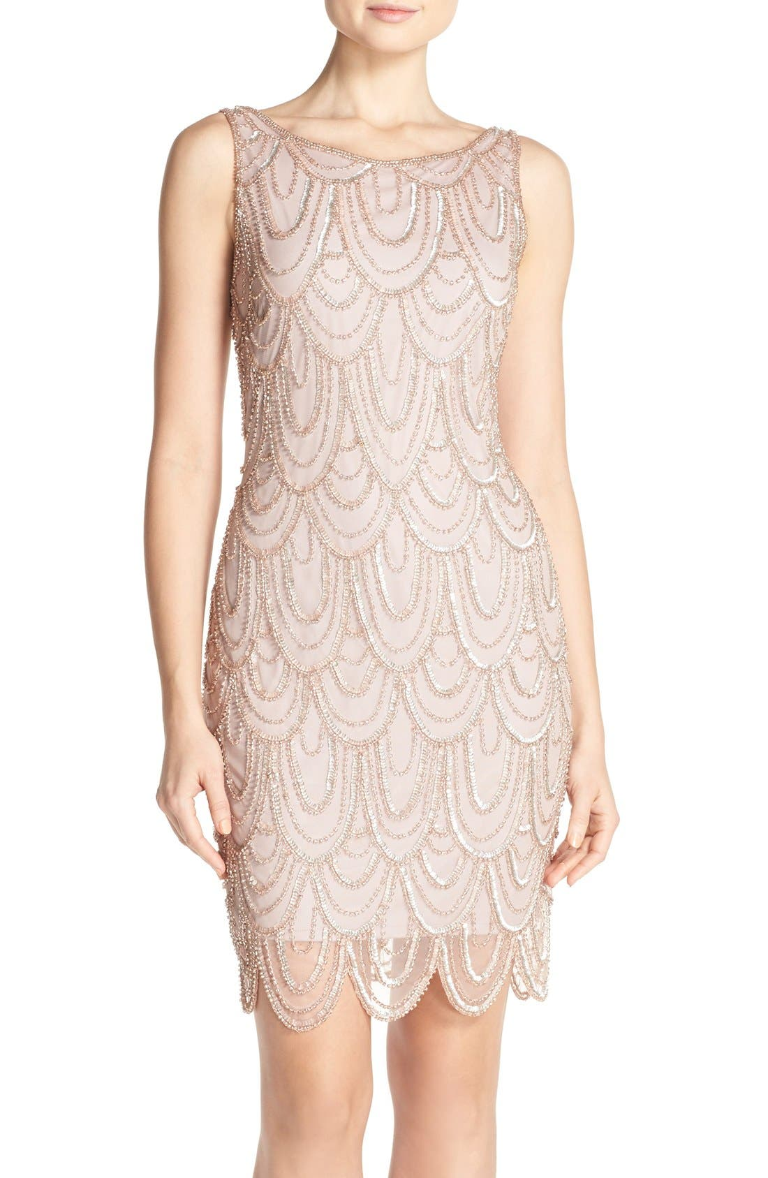 Pisarro Nights Embellished Mesh Sheath Dress (Regular & Petite)