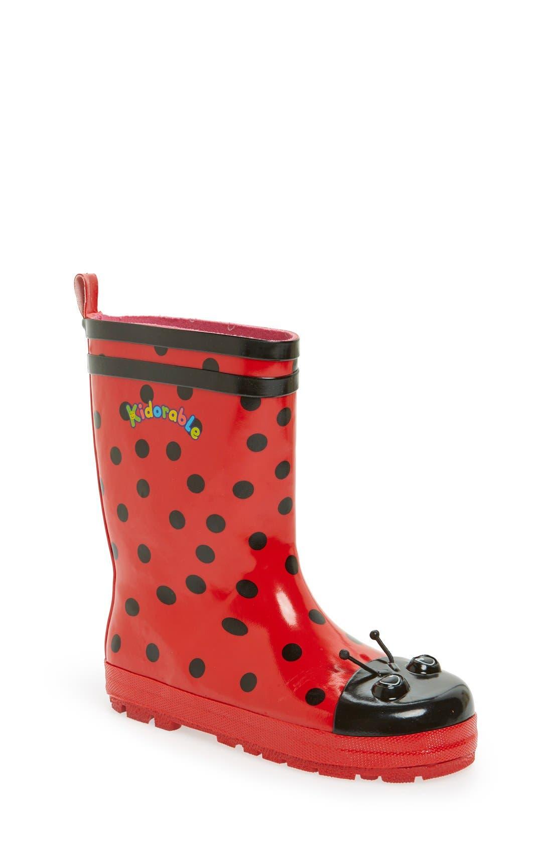 'Ladybug' Waterproof Rain Boot,                             Main thumbnail 1, color,                             Red