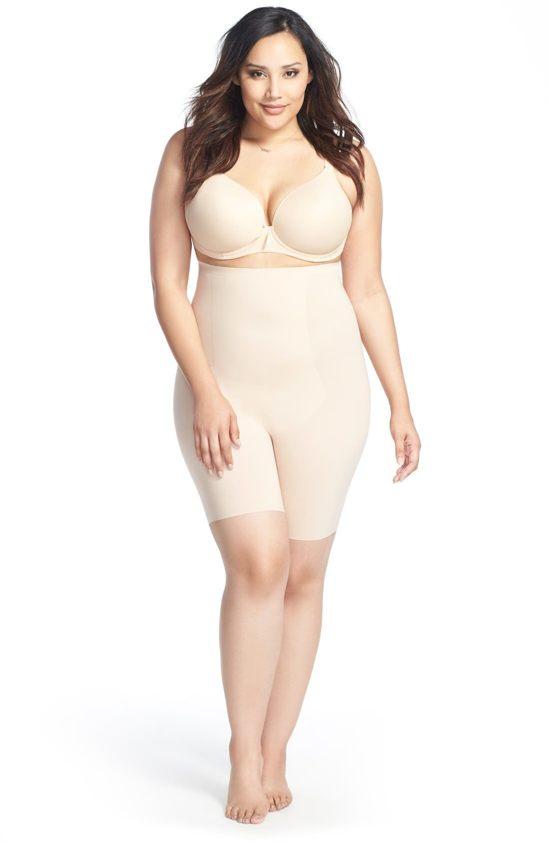 Alternate Image 4  - SPANX® Thinstincts™ High Waist Mid-Thigh Shorts (Plus Size)