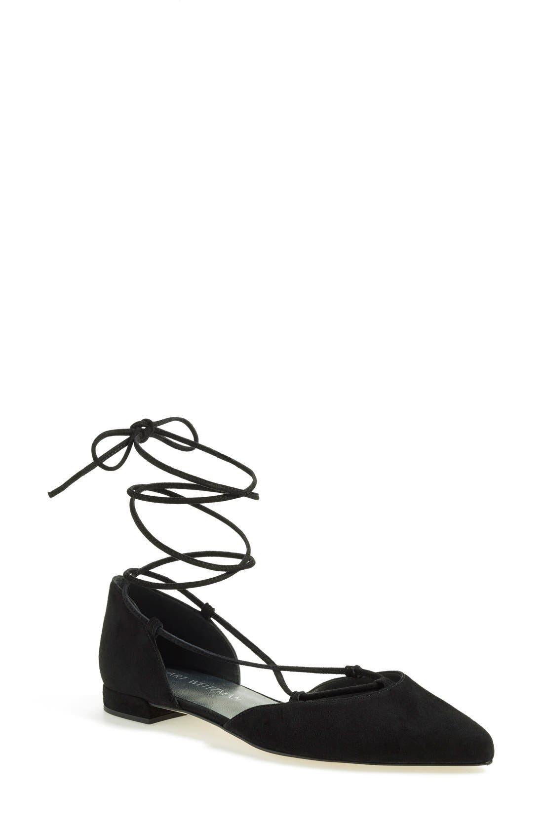 'Tyler' Wraparound Lace Flat,                             Main thumbnail 1, color,                             Black Suede
